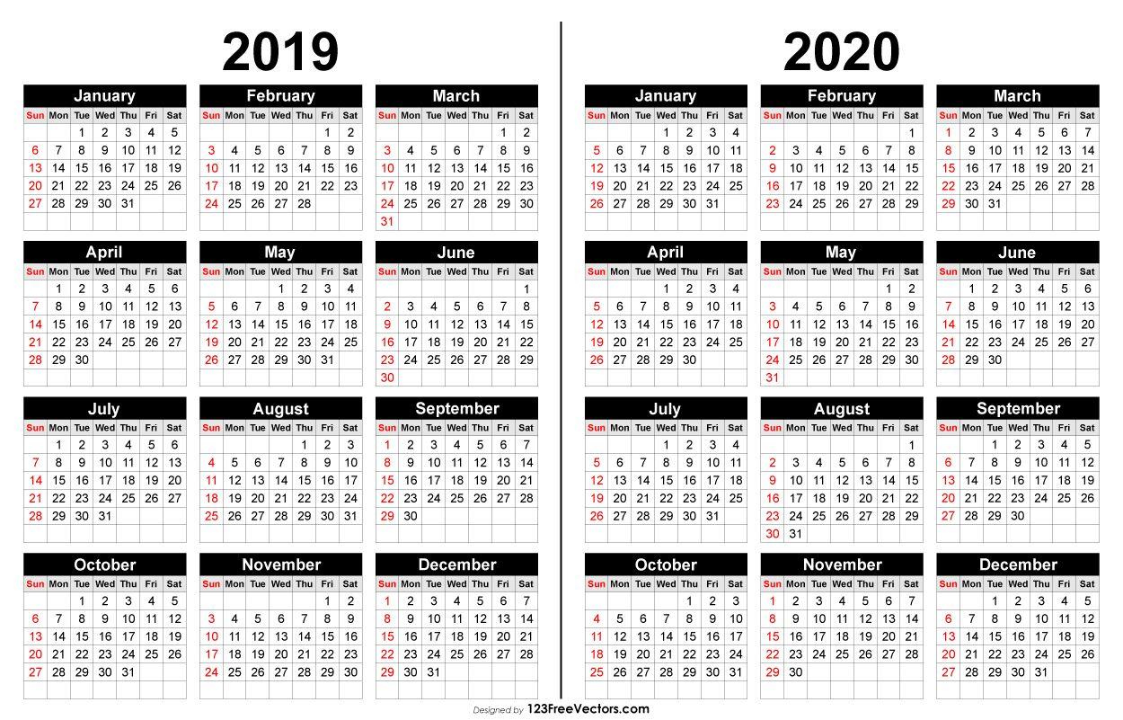 2019 And 2020 Calendar Printable | 2019 Calendar | Calendar 2020 in 2019-2020 Calendar Printable Free No Download