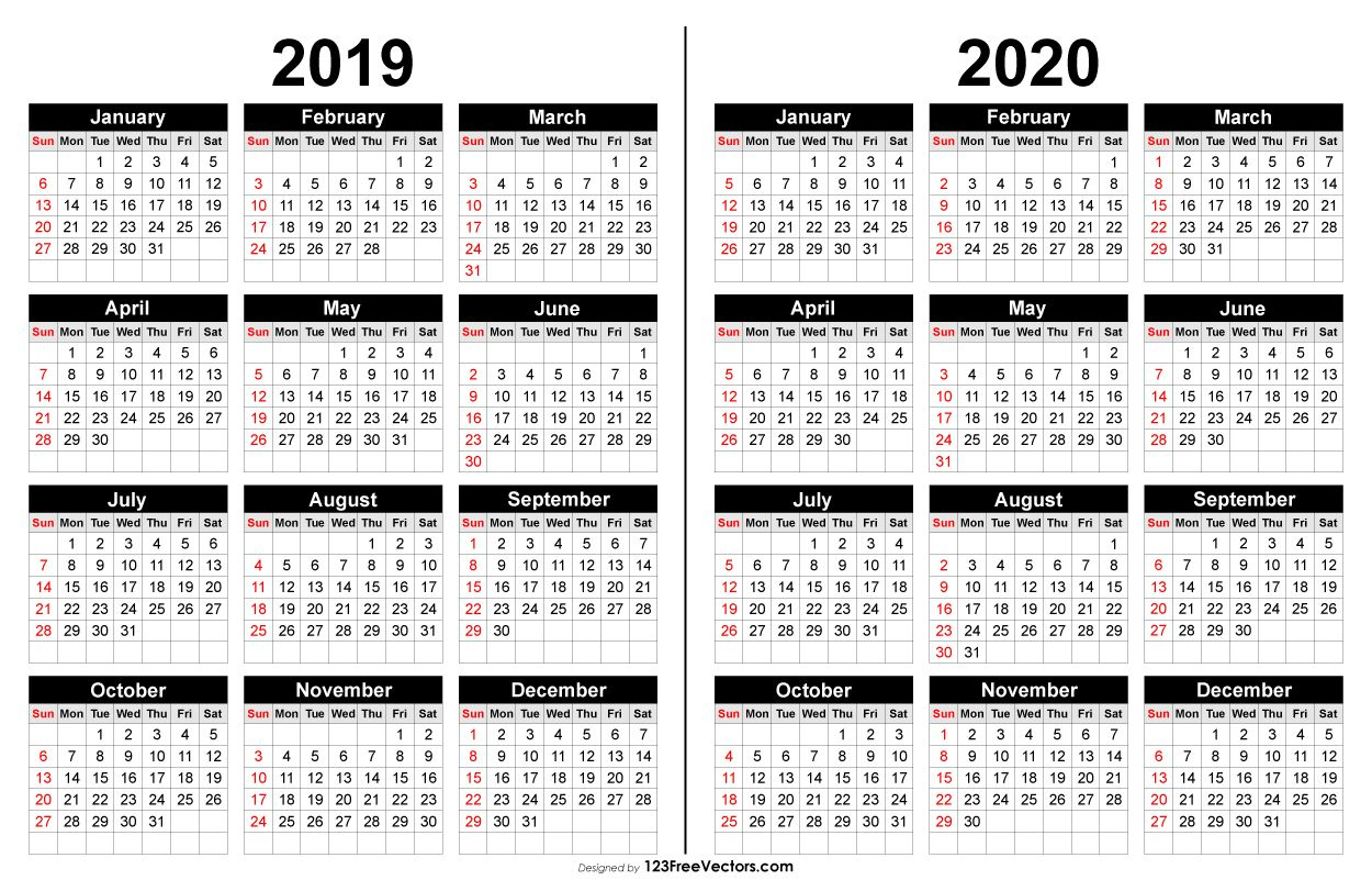 2019 And 2020 Calendar Printable | 2019 Calendar | Calendar 2020 within Year To A Page 2019/2020 Calender