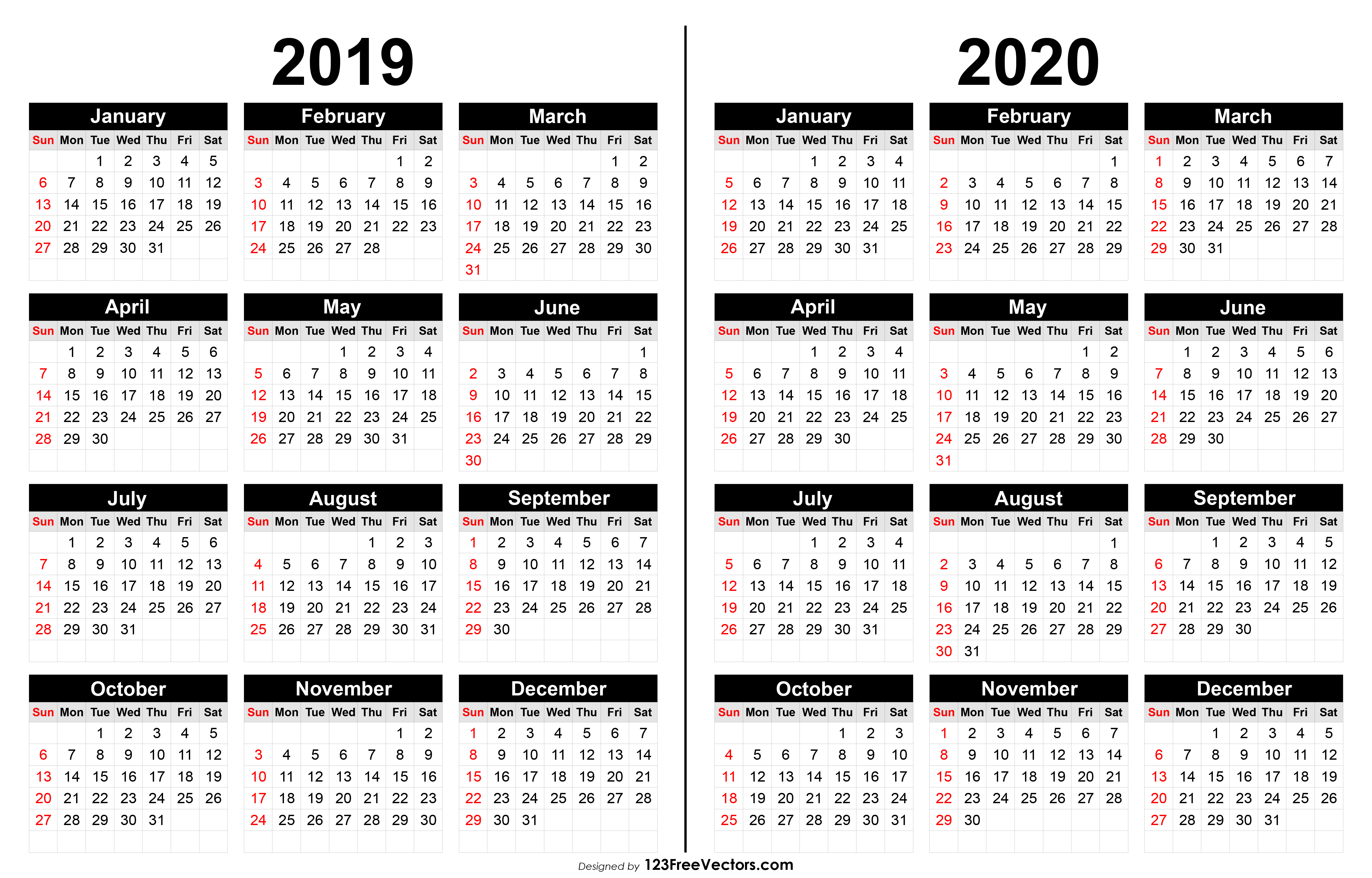 2019 And 2020 Calendar Printable in 2019-2020 Blank Calendar To Print