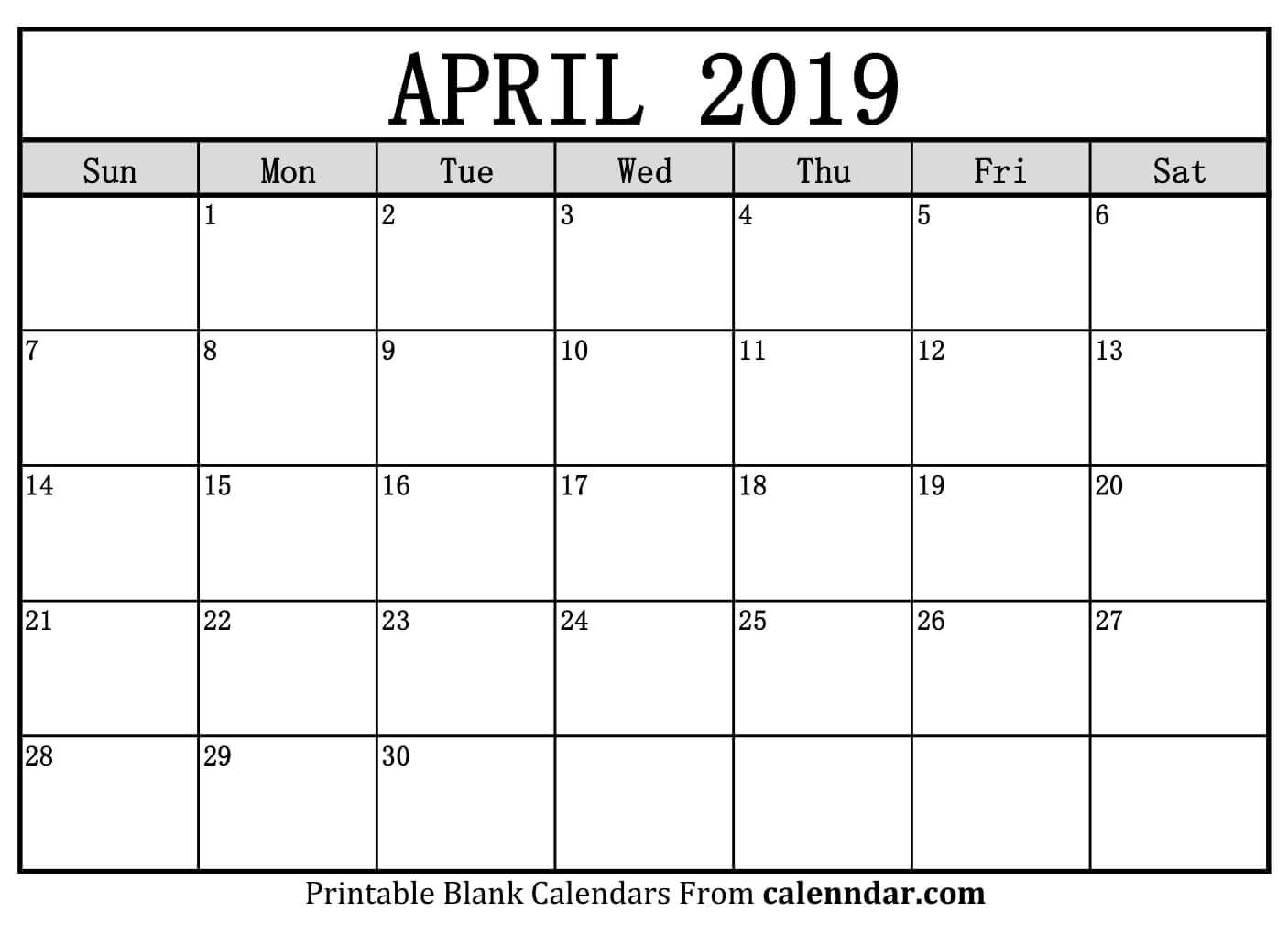 2019 April Calendar Template - Printable Calendar 2019| Blank intended for April Calendar Template