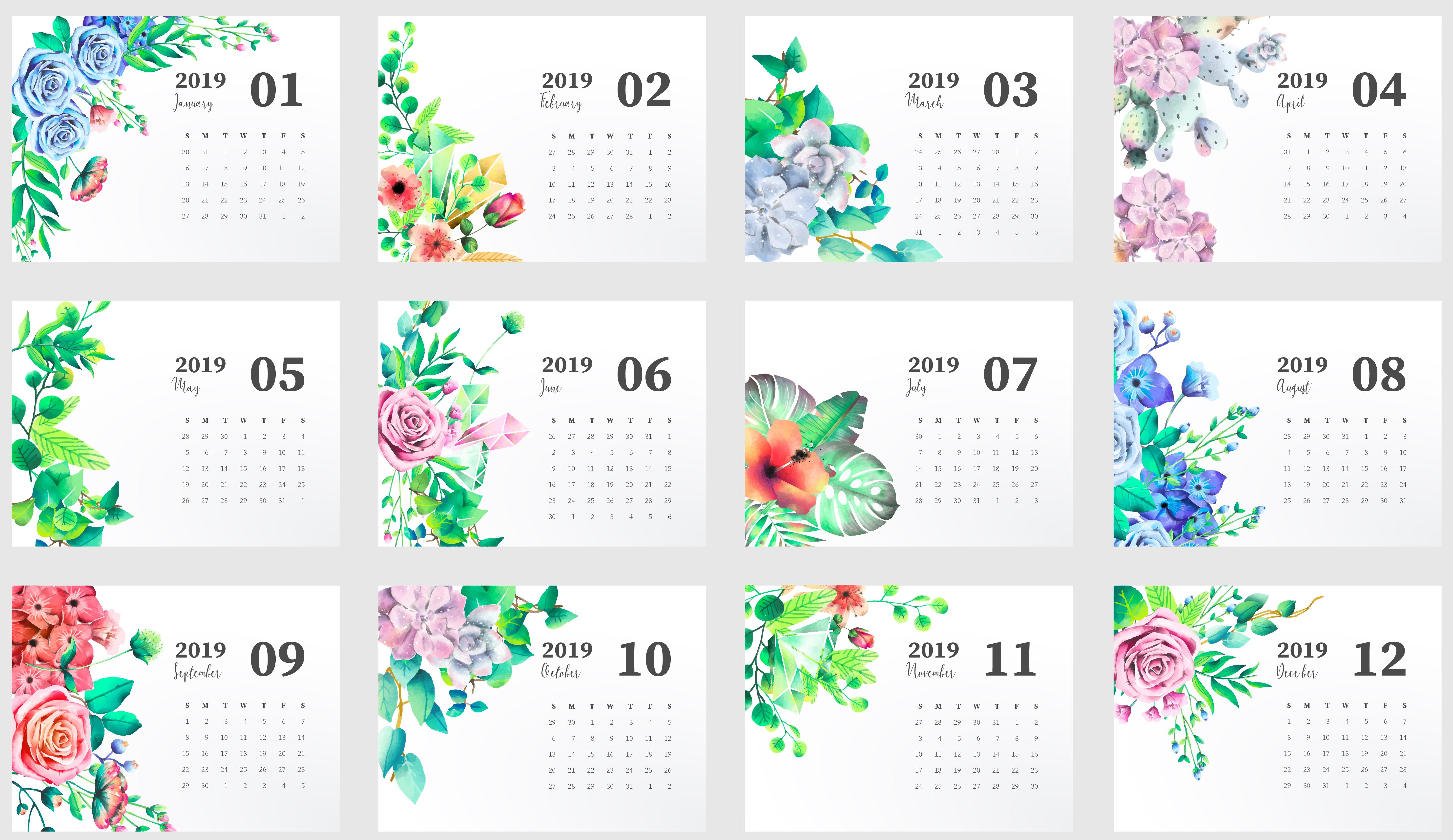 2019 Blank Yearly Calendar Template inside Cute Yearly Calendar Template