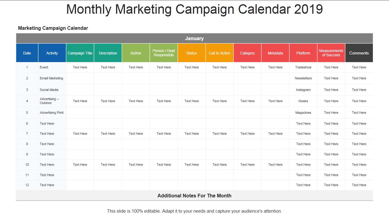 2019 Calendar: 13 Powerpoint Calendar Templates with regard to Monthly Calendar Powerpoint Template