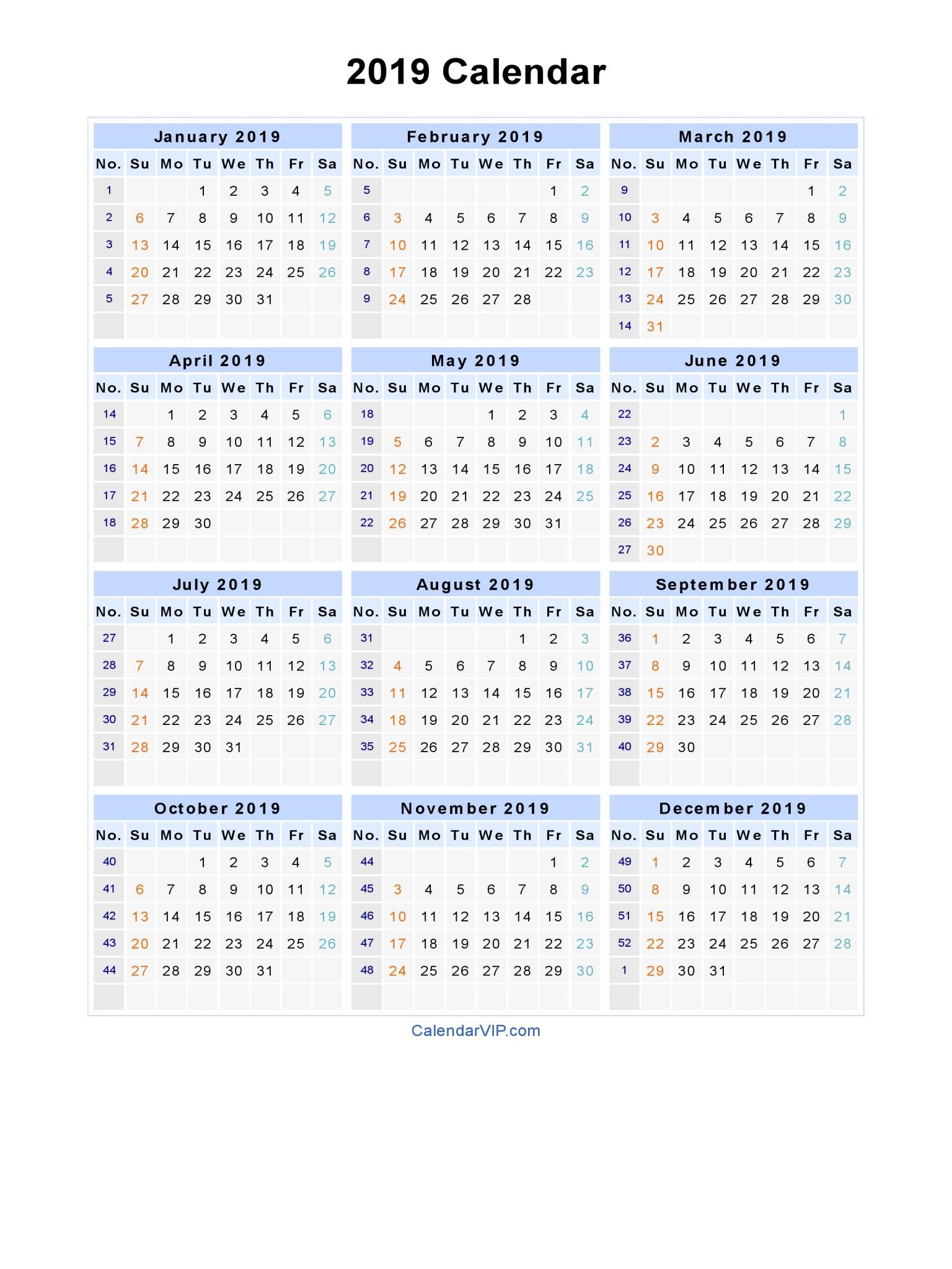 2019 Calendar - Blank Printable Calendar Template In Pdf Word Excel regarding Word Calendar Template Excel