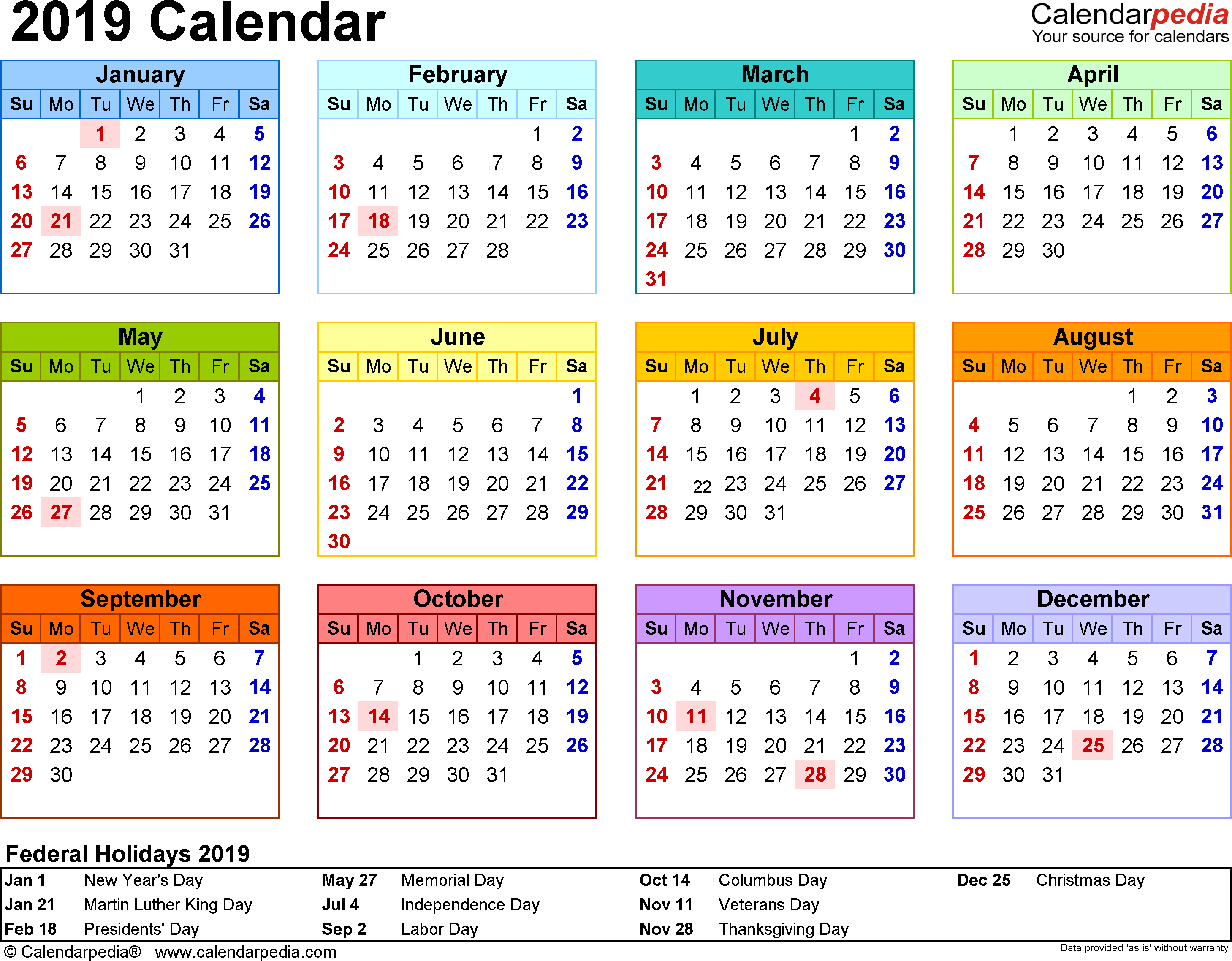 2019 Calendar - Download 17 Free Printable Excel Templates (.xlsx) with regard to Calendar With Holidays Templates