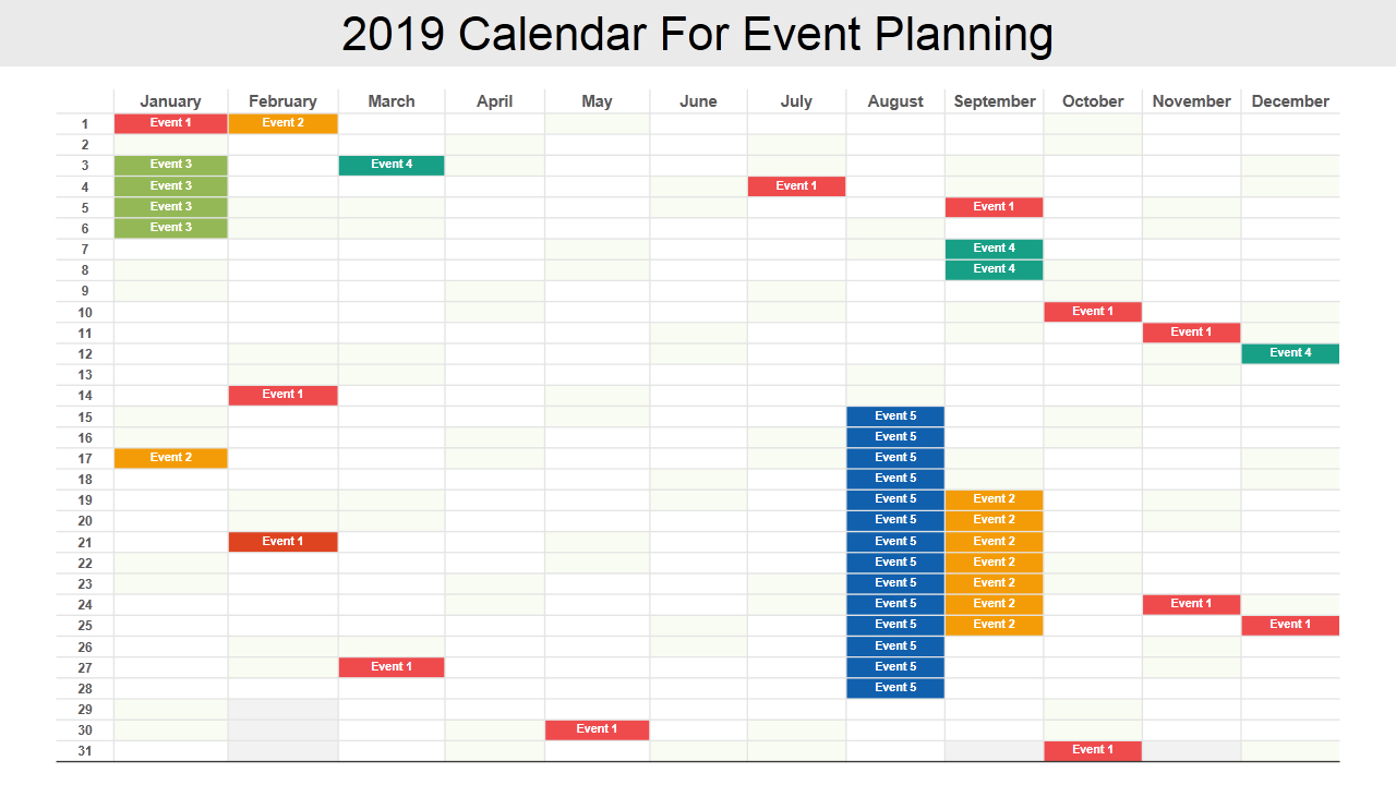 2019 Calendar For Event Planning | Powerpoint Presentation Designs with regard to Event Planning Calendar Template