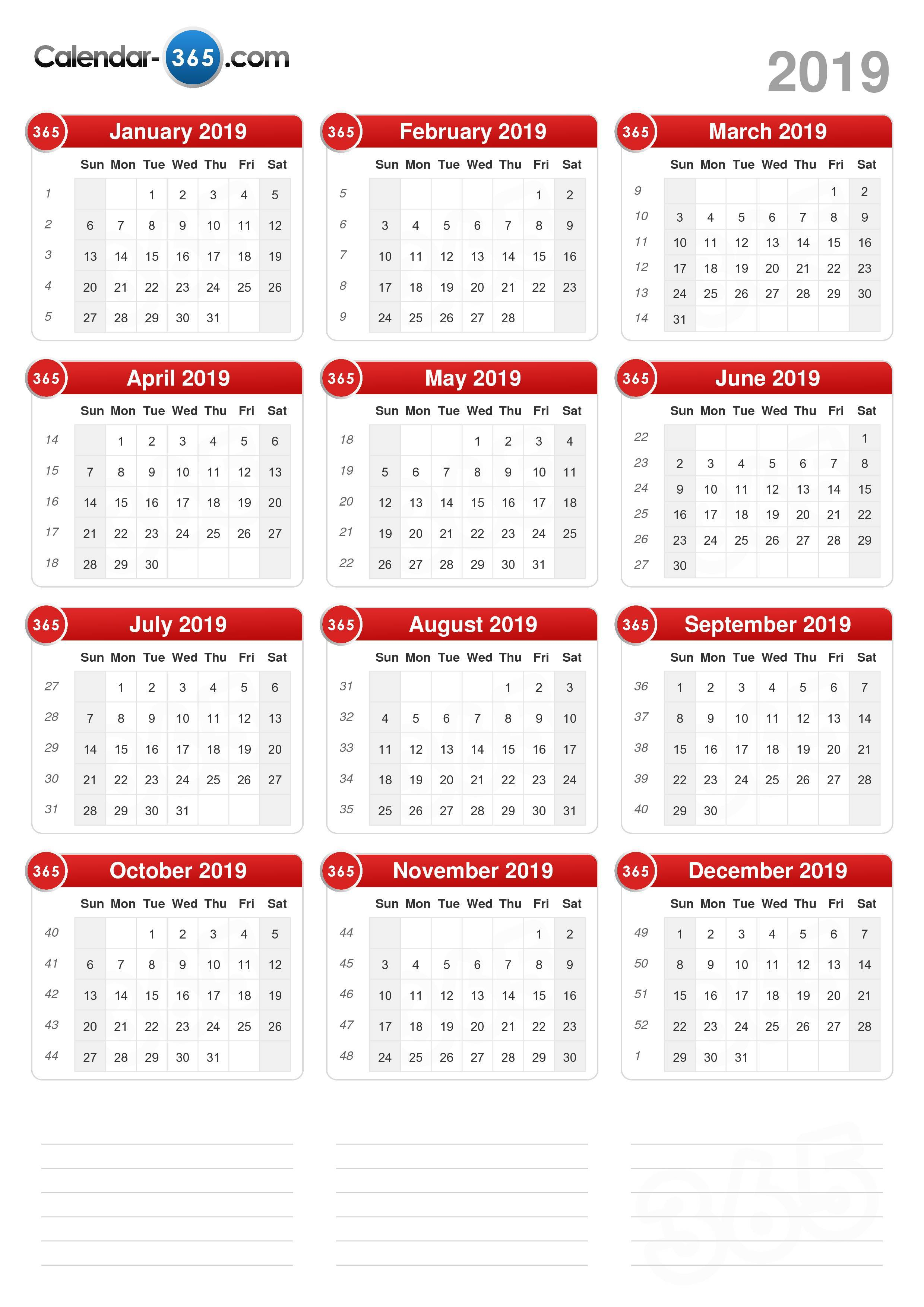 2019 Calendar intended for Blank Time And Date Calendar