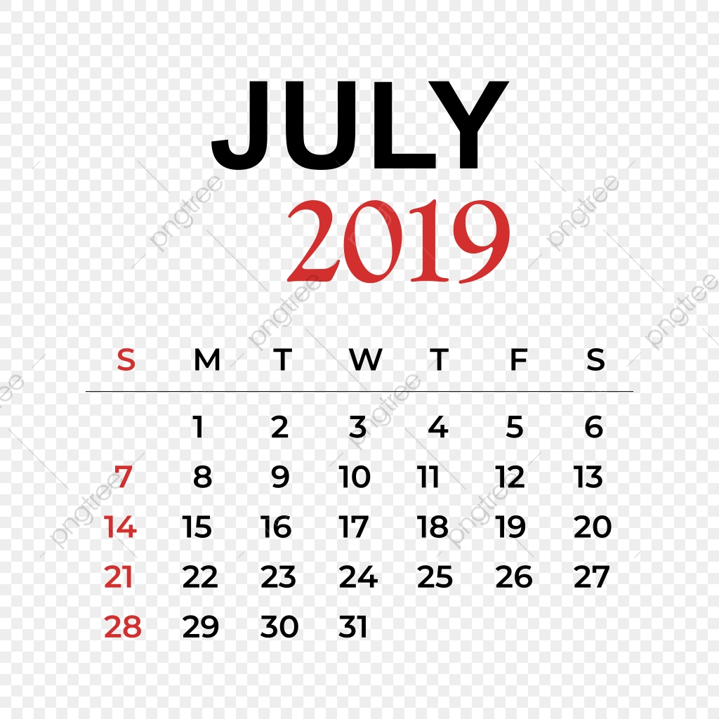 2019 Calendar July Month, Calendar, Year, Week Png And Vector With intended for Monthly Calendar Template Clip Art