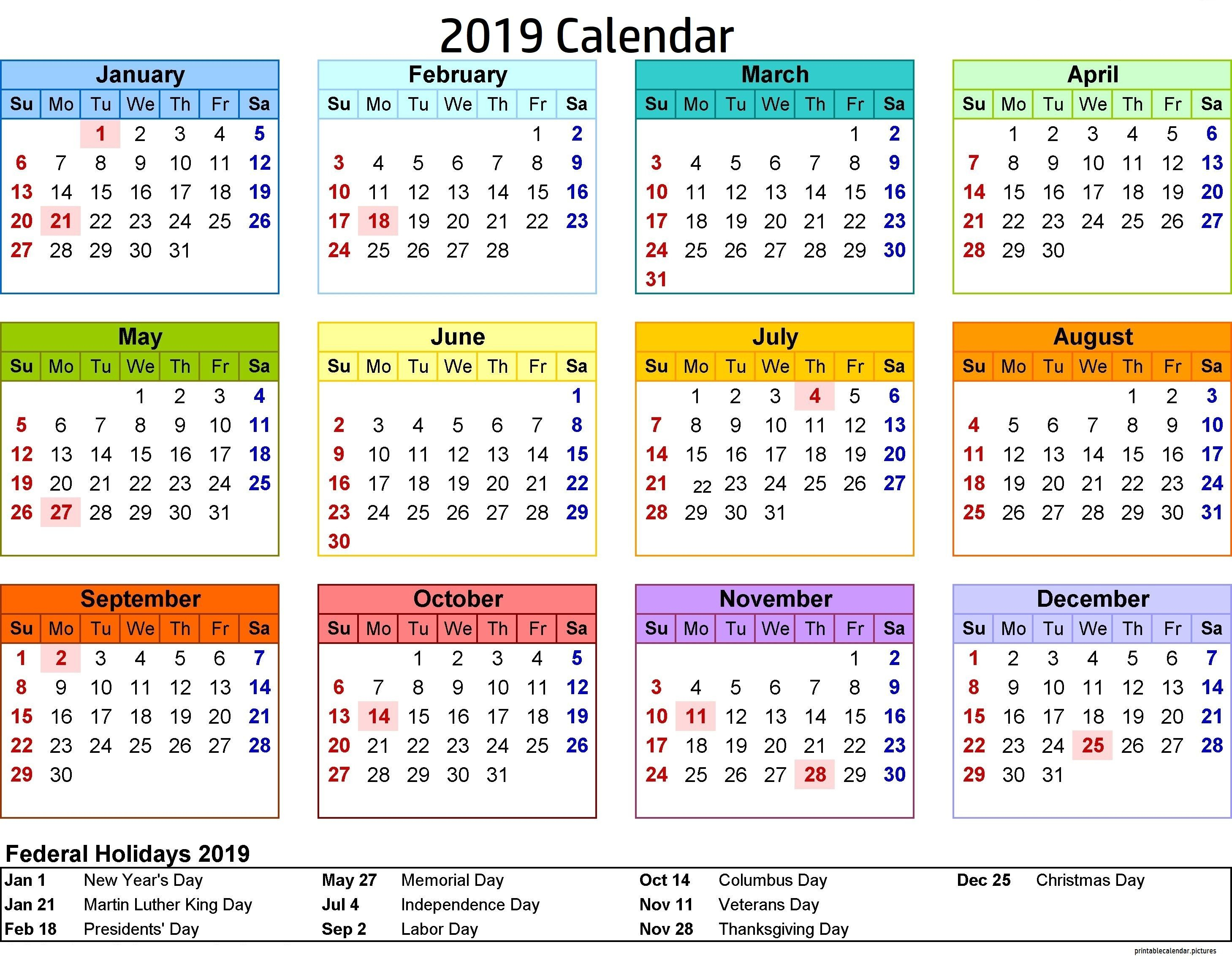 2019 Calendar Philippines With Holidays | 2019 Calendar Holidays for 8.5 X 11 Calander Filler For 2020