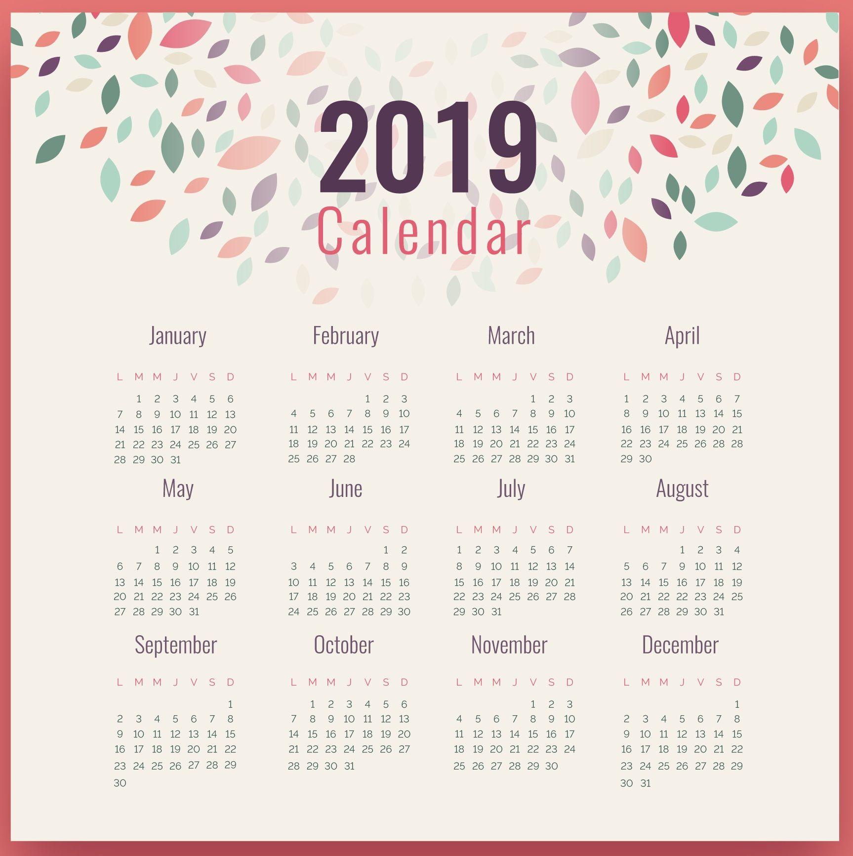 2019 Calendar Photo Frame Design | Monthly Calendar Templates | Wall in Frame Birthday Calendar Templates Free
