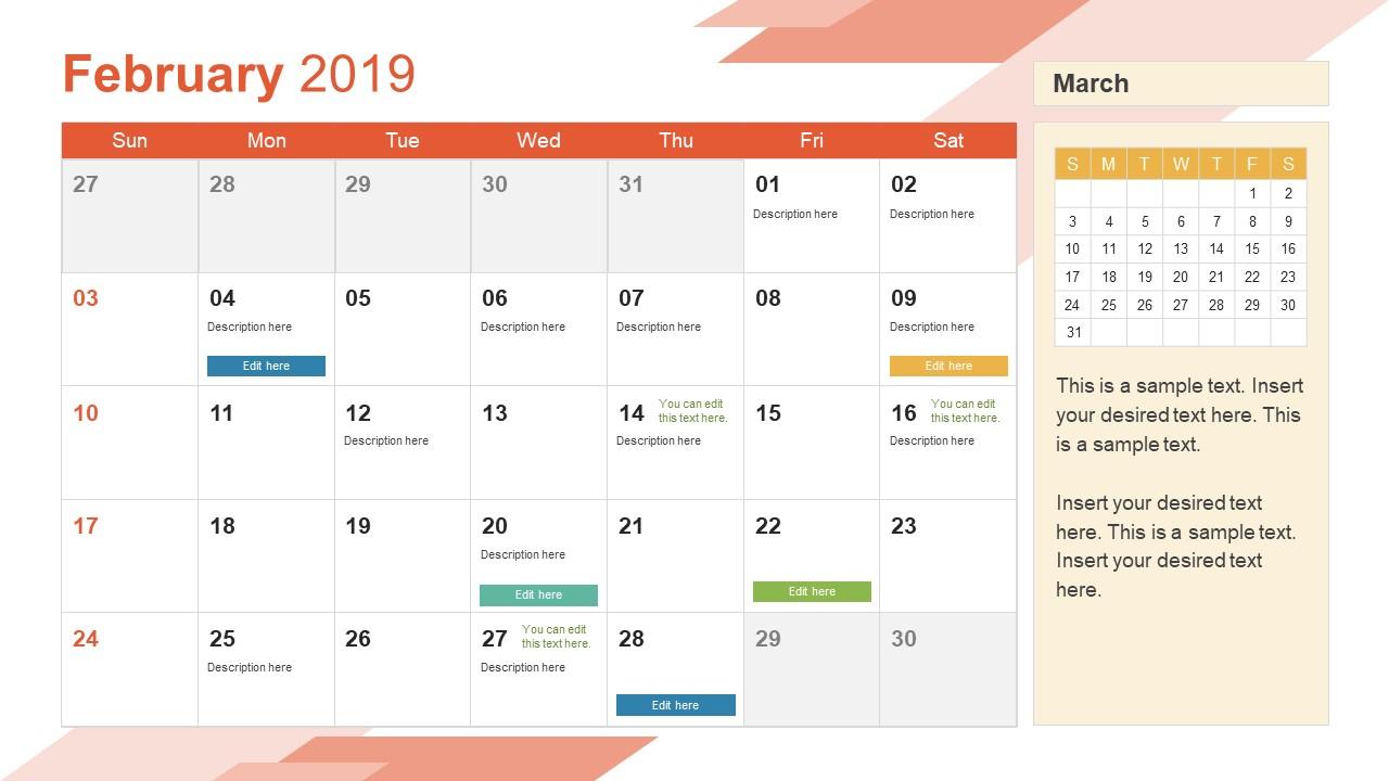 2019 Calendar Powerpoint Template throughout Monthly Calendar Powerpoint Template