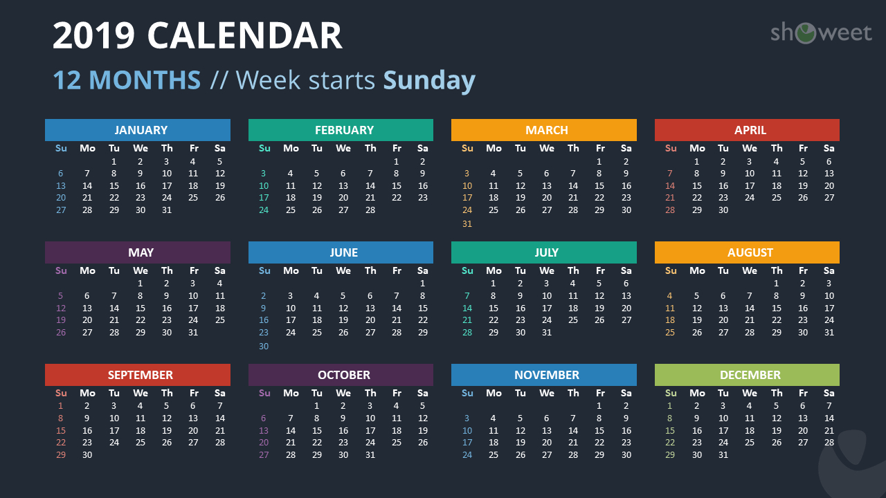 2019 Calendar Powerpoint Templates for Monthly Calendar Powerpoint Template