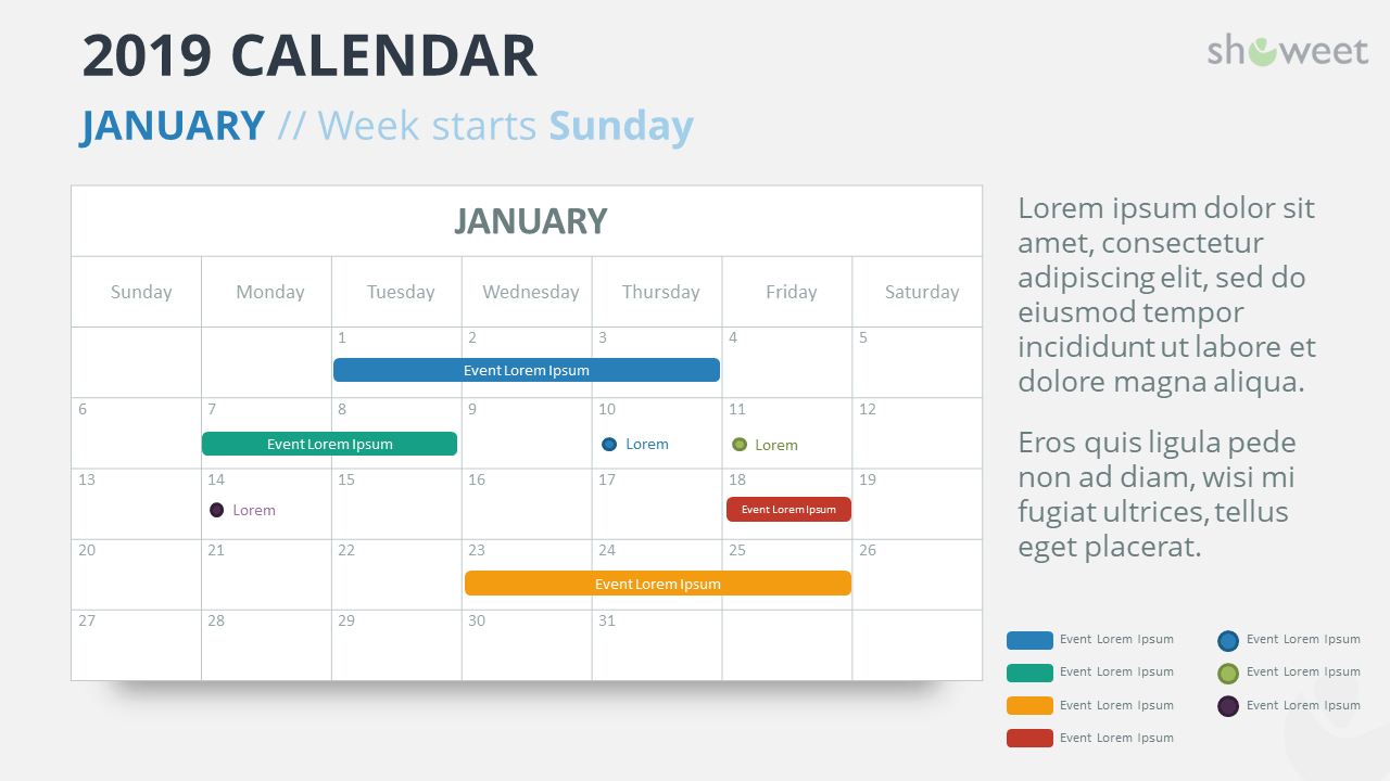 2019 Calendar Powerpoint Templates intended for Monthly Calendar Powerpoint Template