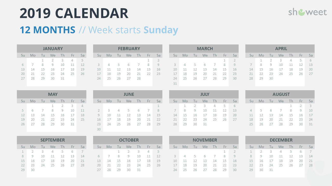 2019 Calendar Powerpoint Templates pertaining to Monthly Calendar Powerpoint Template