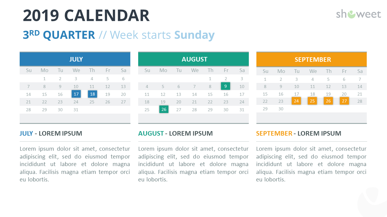 2019 Calendar Powerpoint Templates with Monthly Calendar Powerpoint Template