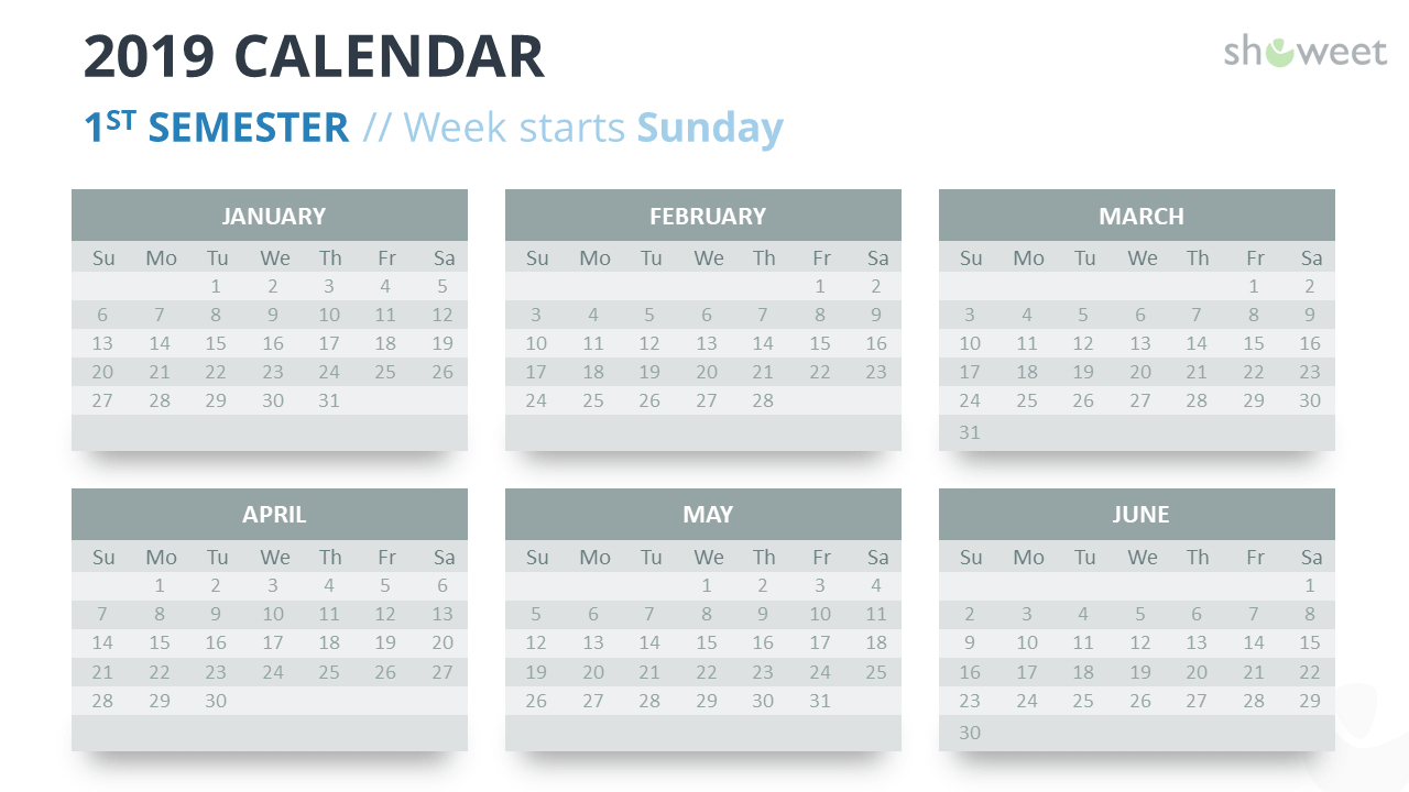 2019 Calendar Powerpoint Templates within Monthly Calendar Powerpoint Template