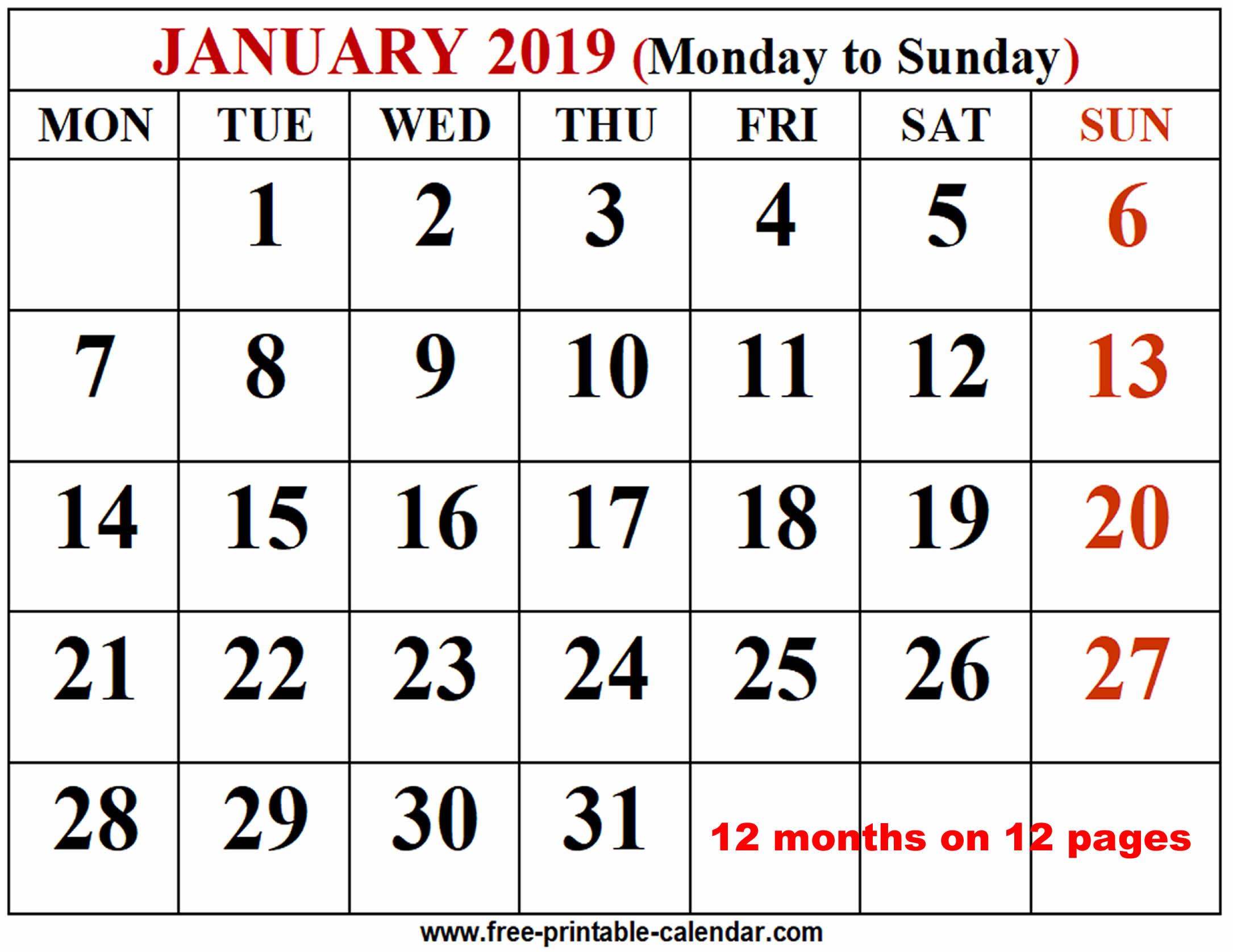 2019 Calendar Template - Free-Printable-Calendar in Monday Through Friday Calendar Template January Printable