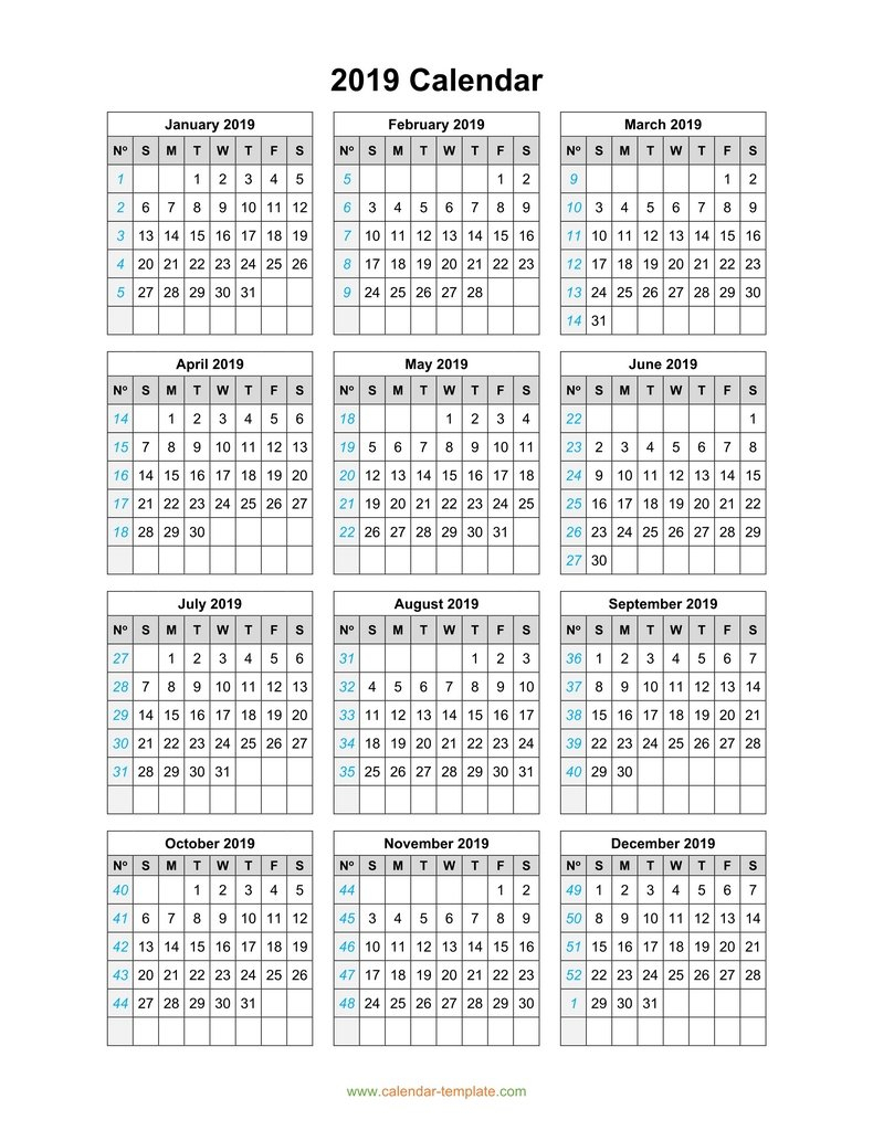 2019 Calendar Template On One Page with Calendar Printable One Page Templates