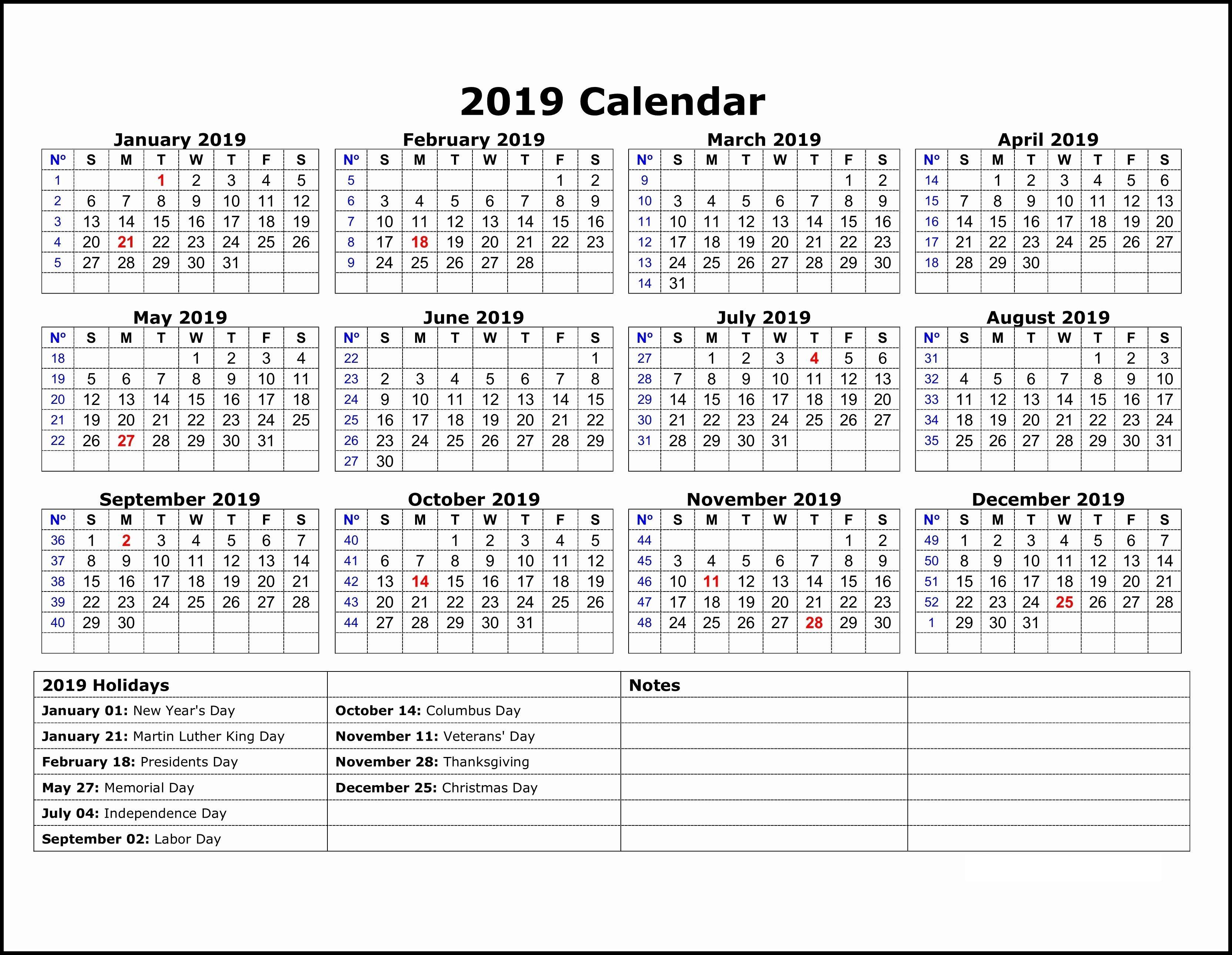 2019 Calendar Template One Note | 2019 Calendar Template In One with Monthly Calendar Template Printable Notes