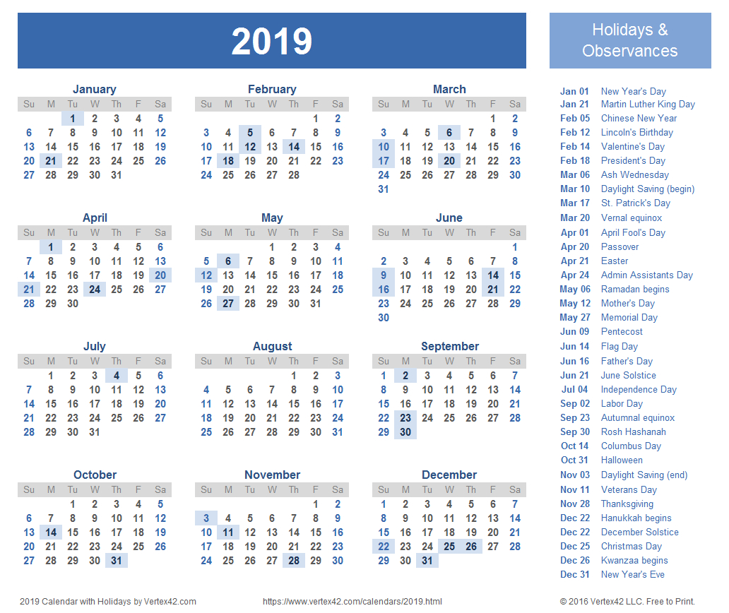 2019 Calendar Templates And Images intended for Calendar With Holidays Printable Templates