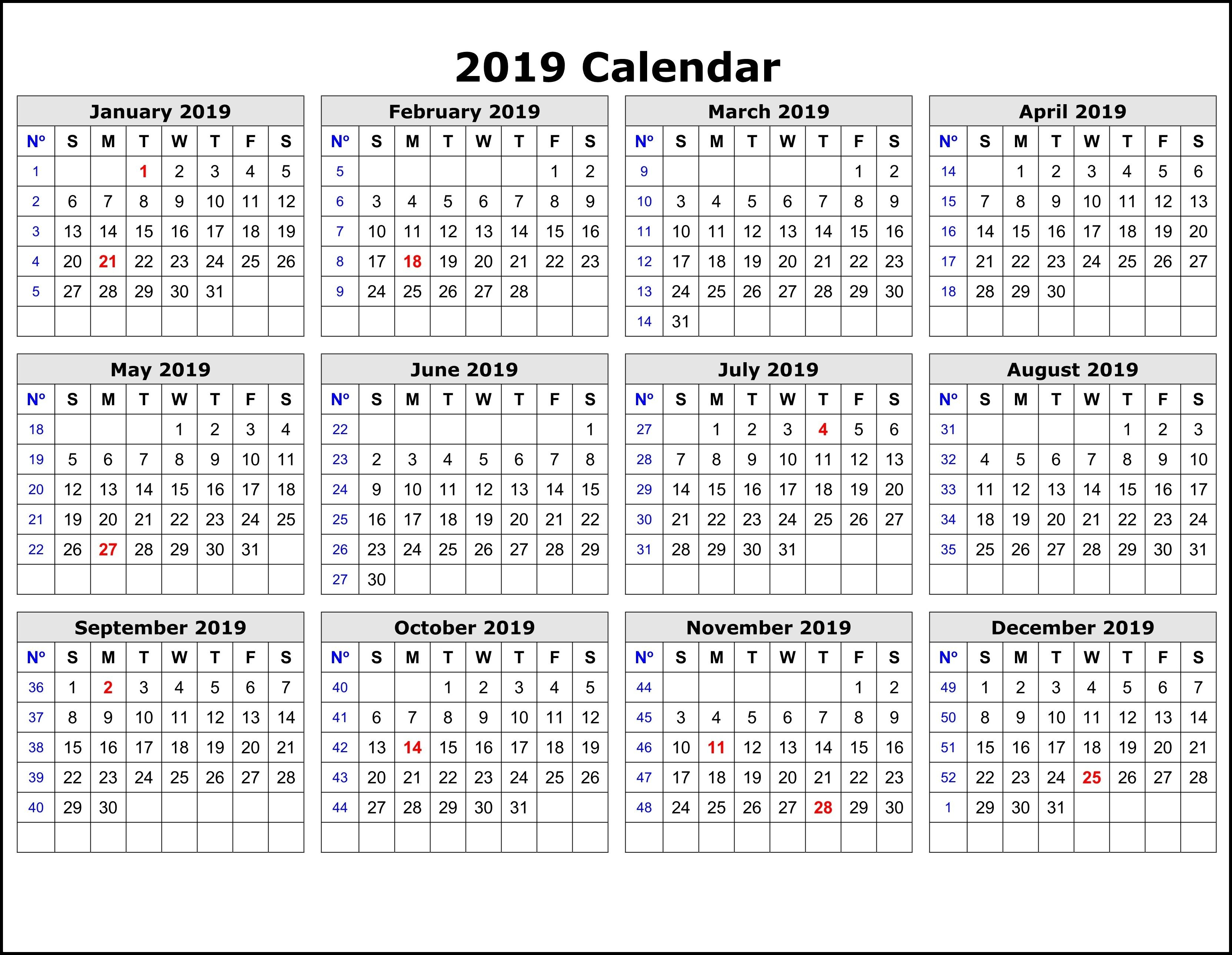 2019 Calendar Templateweek | Adobe Photoshop | Printable in Split Calendar 2019 2020 South Australia