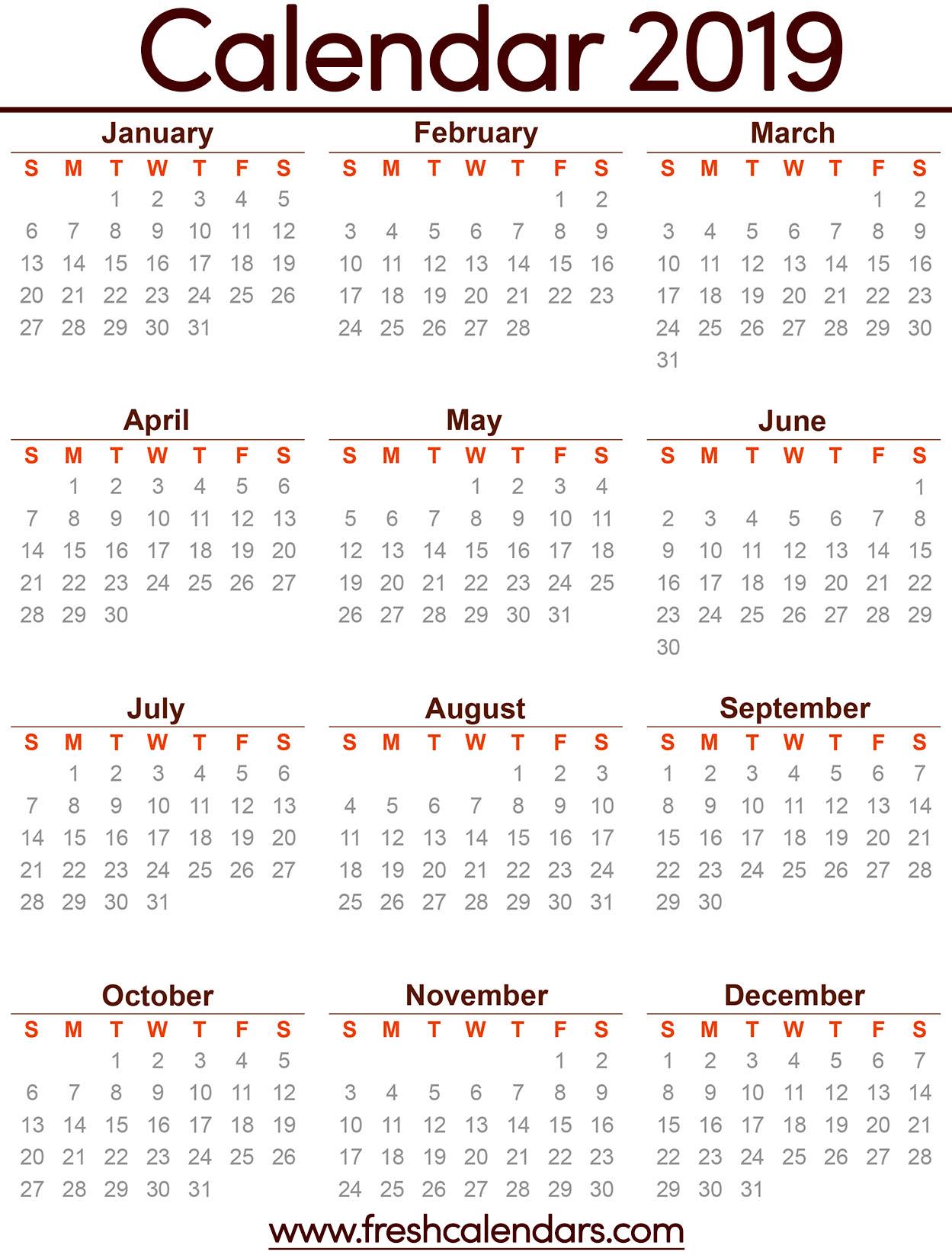 2019 Calendar throughout Printable Calendars July 2019 To June 2020