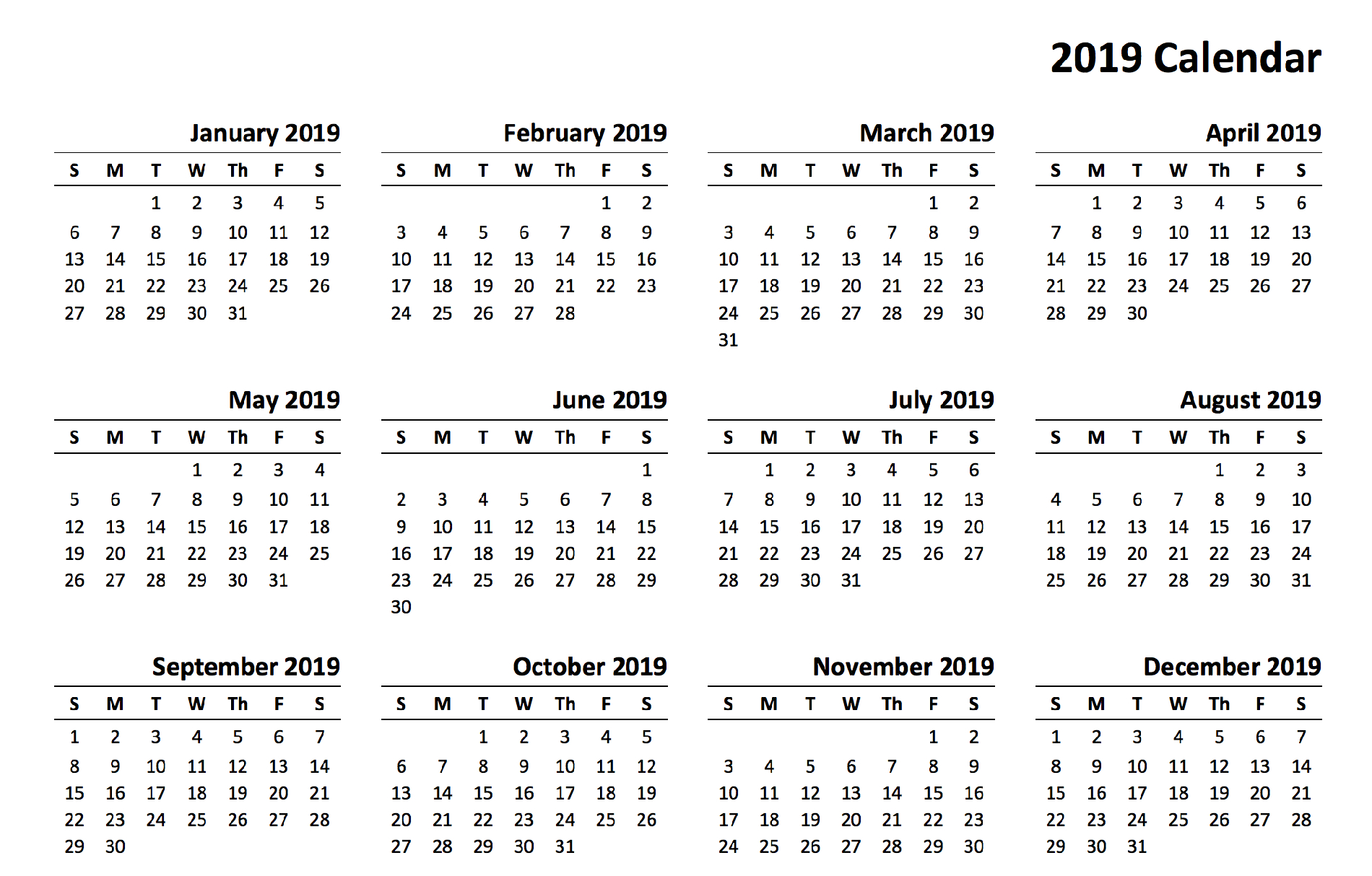 2019 Calendar With 12 Month Template To Print - Printable Monthly pertaining to Blank Printable Calendar 12 Month