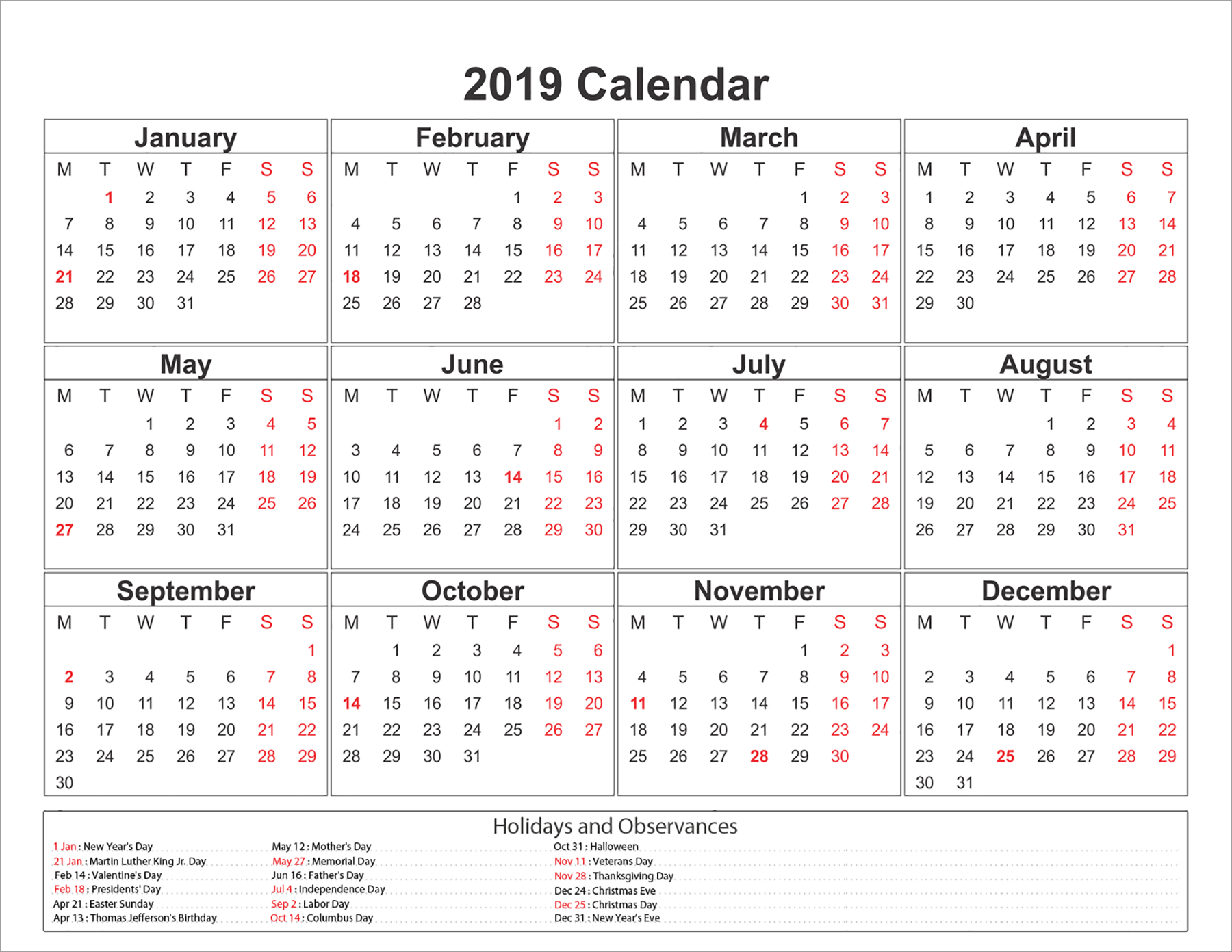 2019 Calendar With 12 Month Template To Print - Printable Monthly regarding 12 Month Monthly Calendar Template Printable