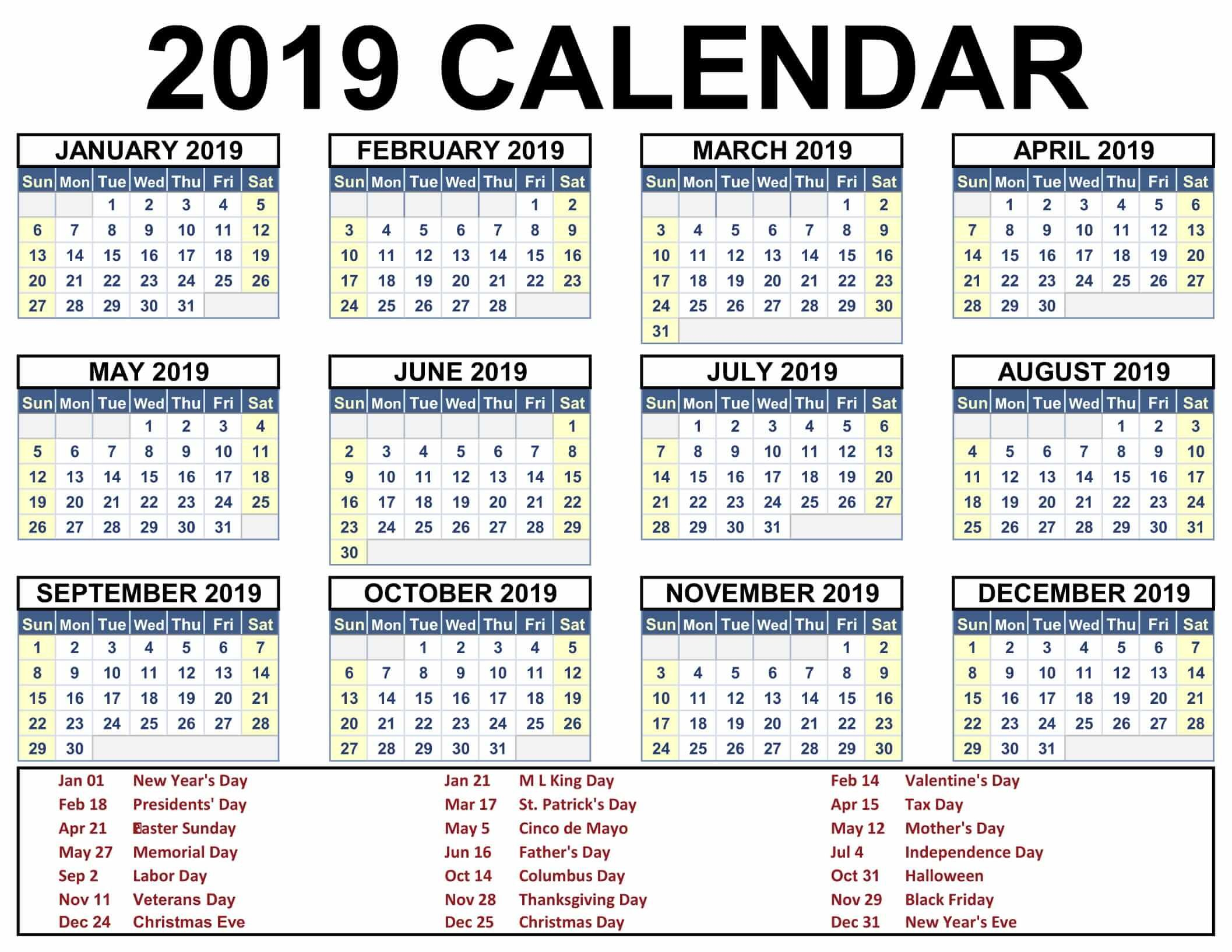 2019 Calendar With Holidays Printable #2019Calendar intended for Free Printable Event Calendar Template