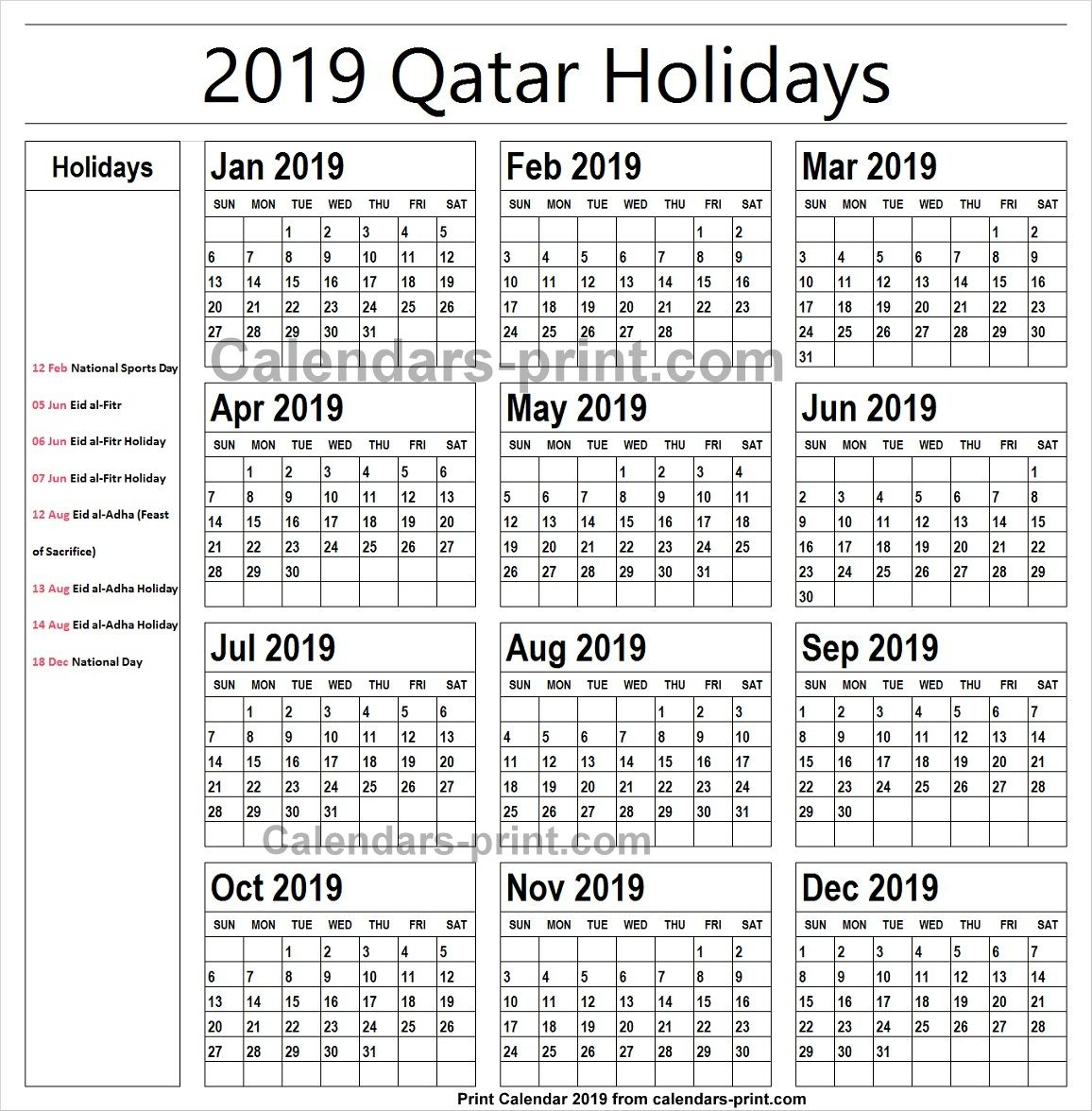 2019 Calendar With Holidays Qatar Printable | Holidays Calendar 2019 in Blank Calender Academic Year 2019 -2020