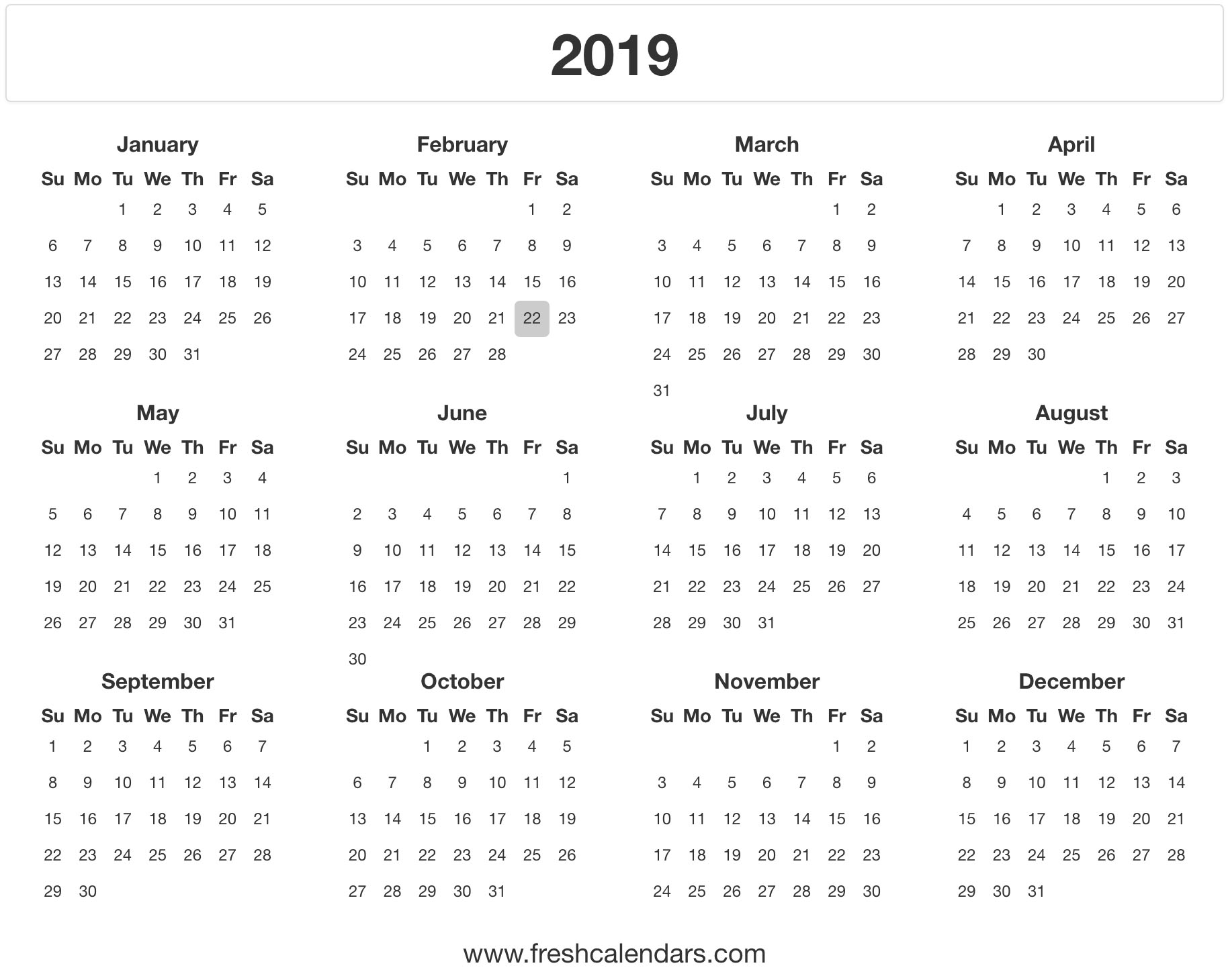 2019 Calendar with Printable Calendars July 2019 To June 2020