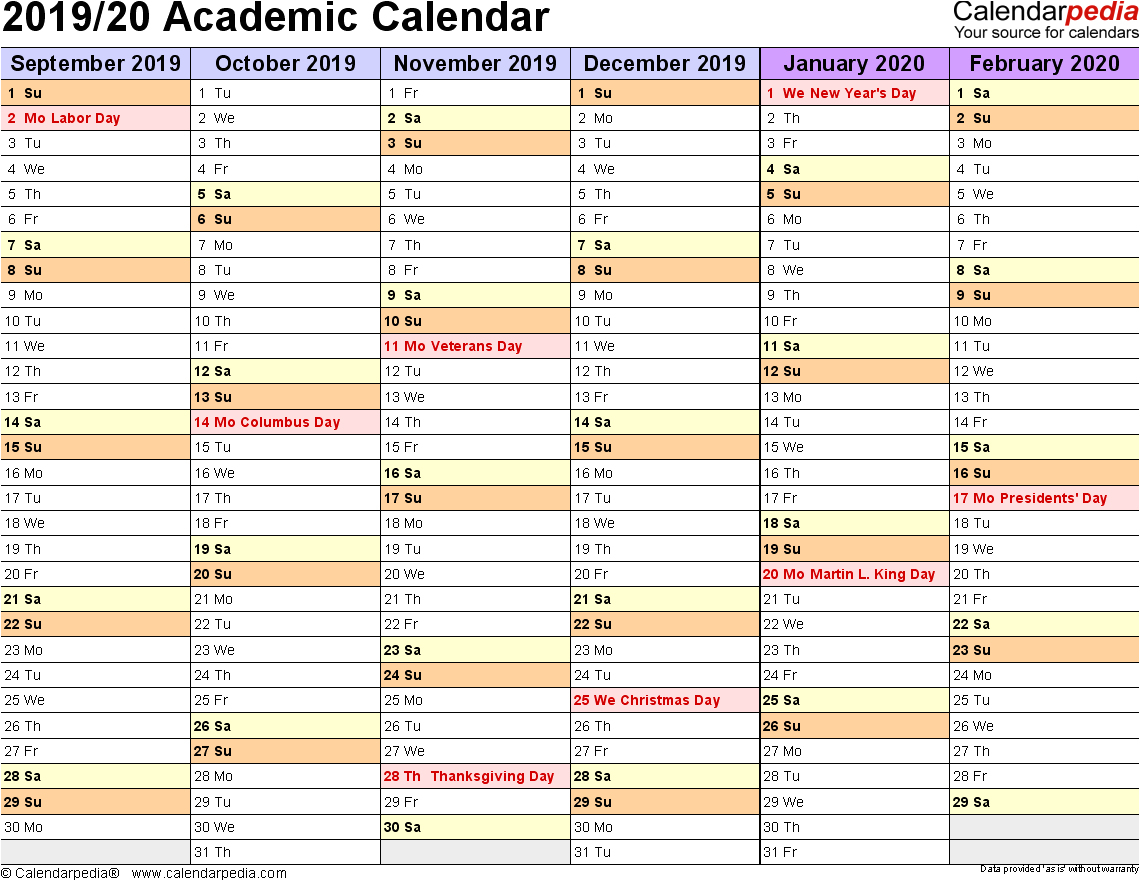 2019 Calendar Year Planner Excel Template 2019 Monthly Academic in Printable Month To Month Clalanders Wityh Lines 2019/2020