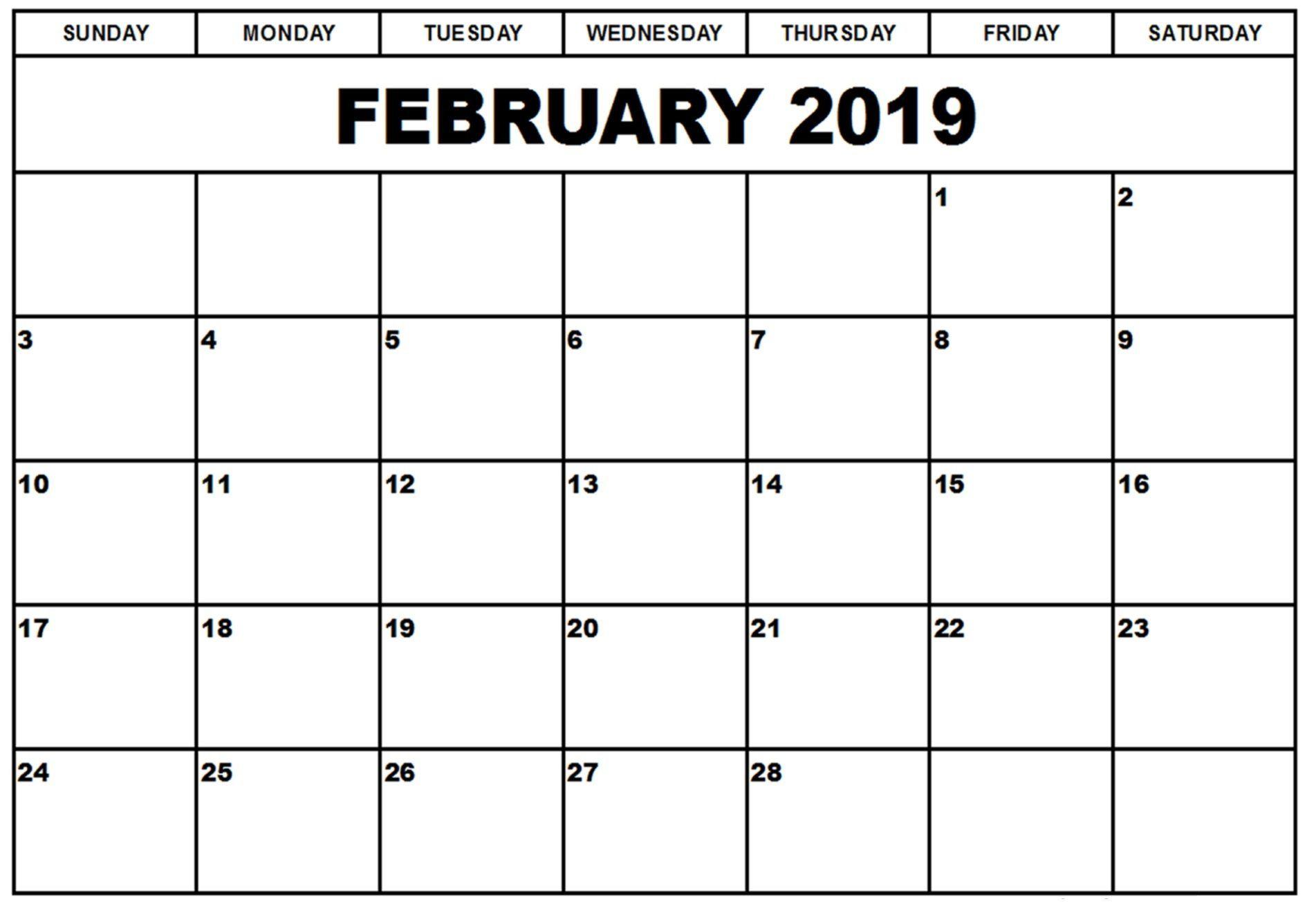 2019 February Printable Word Calendar | Calendar Of February 2019 throughout Vetex 2020 Word Calendar Download