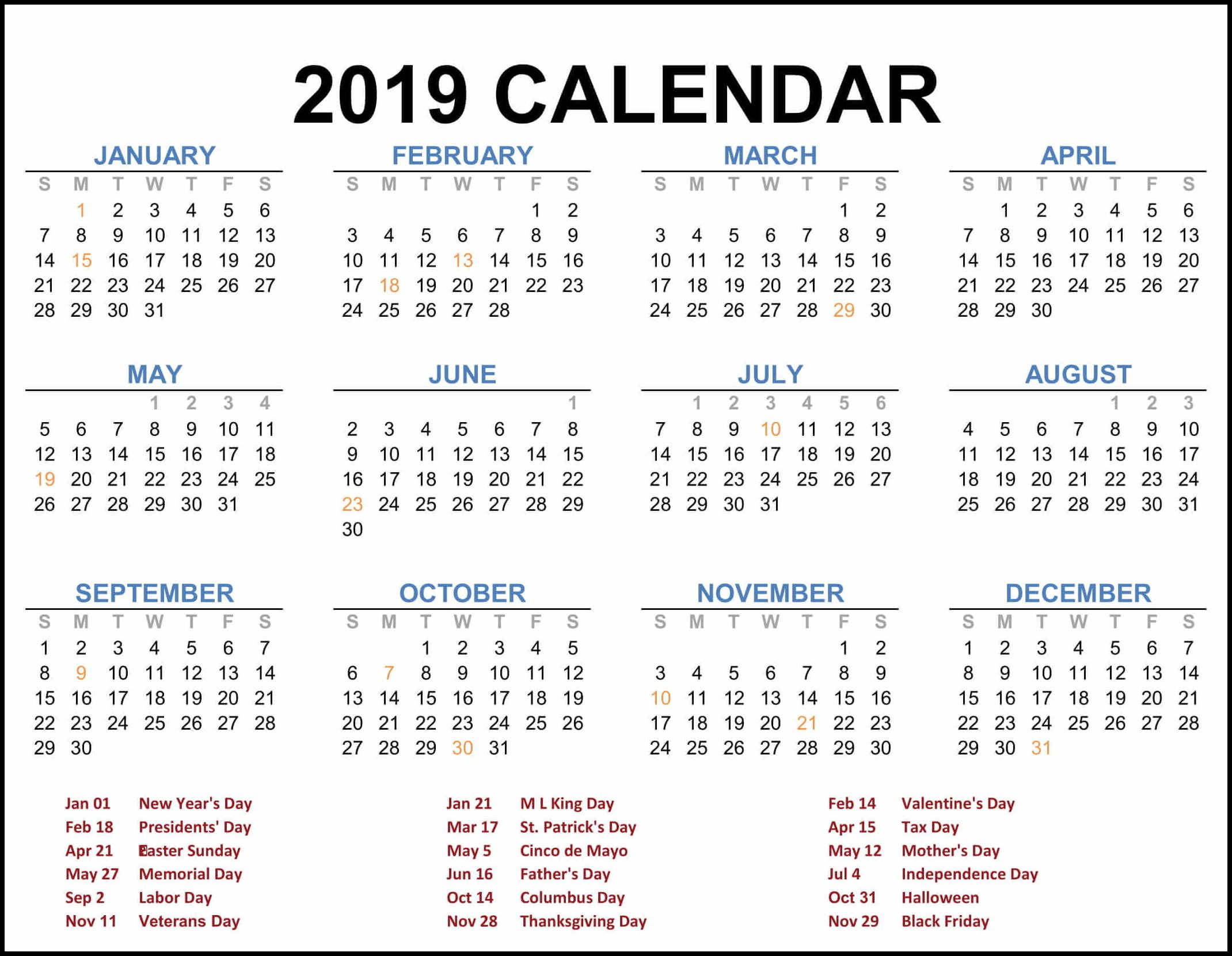 2019 Federal Holiday Calendar | 2019 Calendar Template In One Pages throughout 1 Page Calendar 2019-2020 With Major Holidays