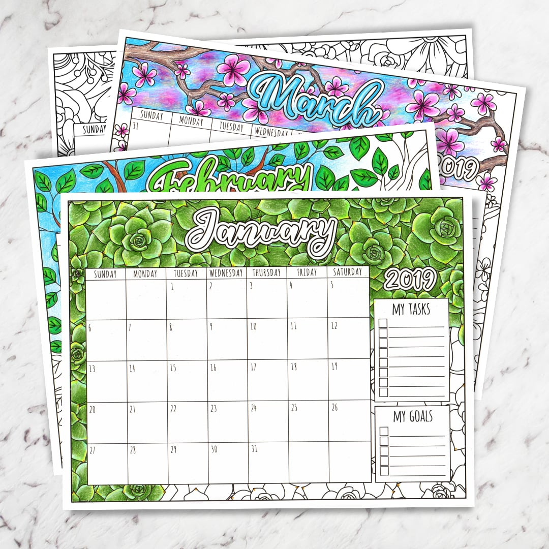 2019 Floral Coloring Calendar in Free Printable Adult October Calendar 2019 Coloring Sheets