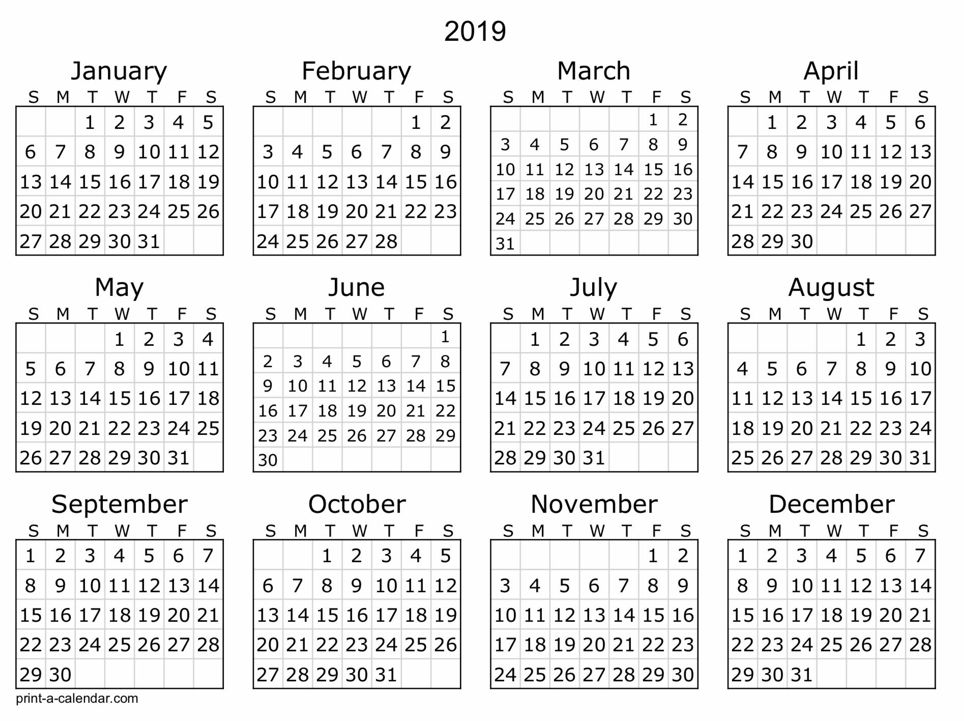 2019 Free Printable Calendar Templates - A Mother's Random Thoughts throughout Free Printable Calendar Templates 8 X 10