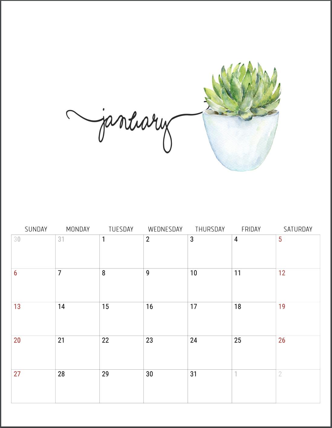 2019 Free Printable Calendars - Lolly Jane with regard to Decorative Printable Calendar Templates