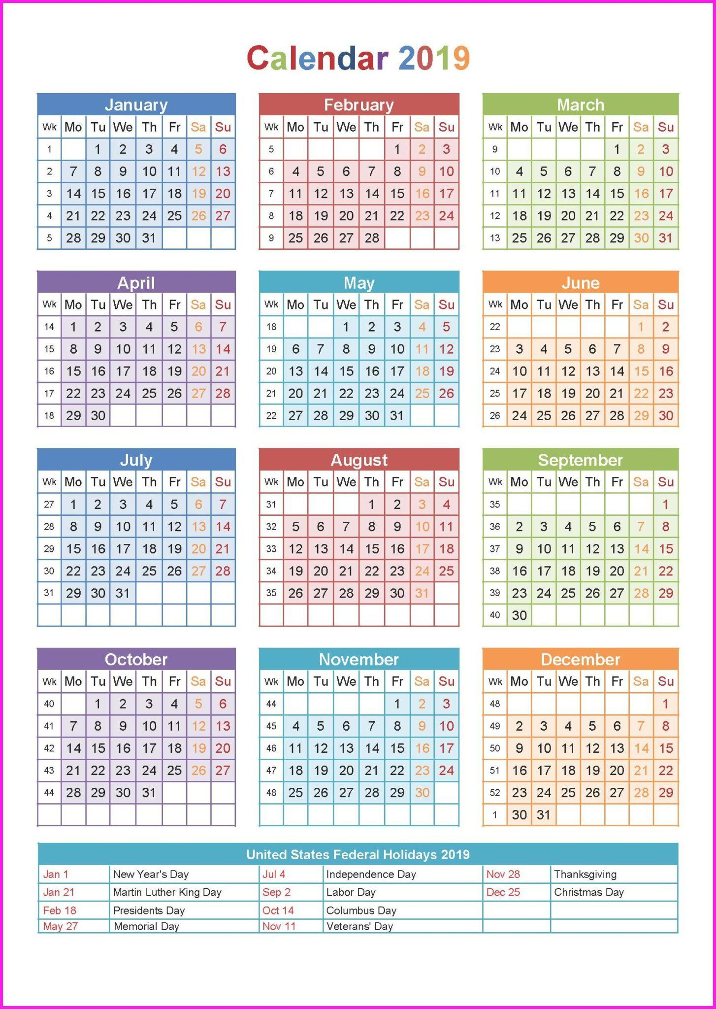2019 Holiday Calendar Usa | Yearly Calendar In One Page | Yearly intended for 1 Page Calendar 2019-2020 With Major Holidays