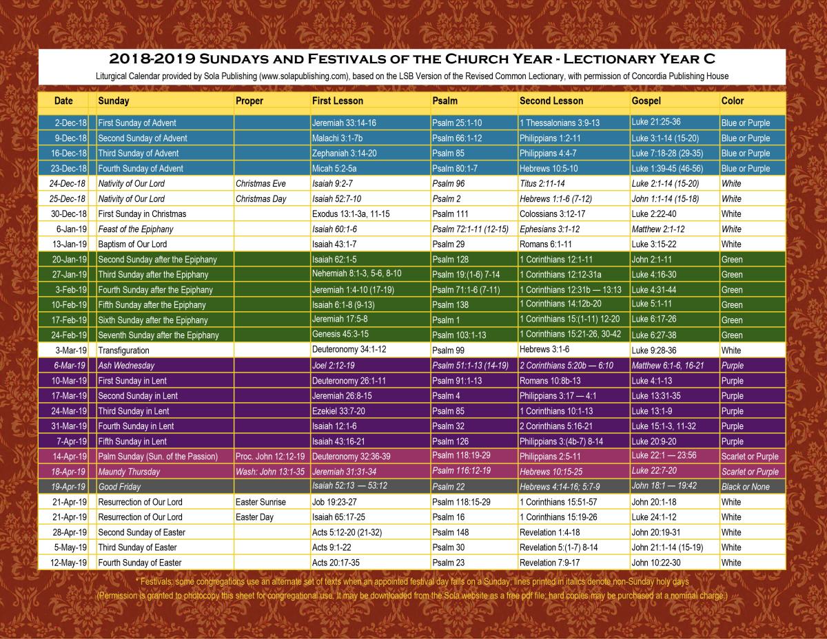 2019 Liturgical Calendar (Year C) K-2019 | Sola Publishing intended for Free Catholic Liturgical Calendar For 2020