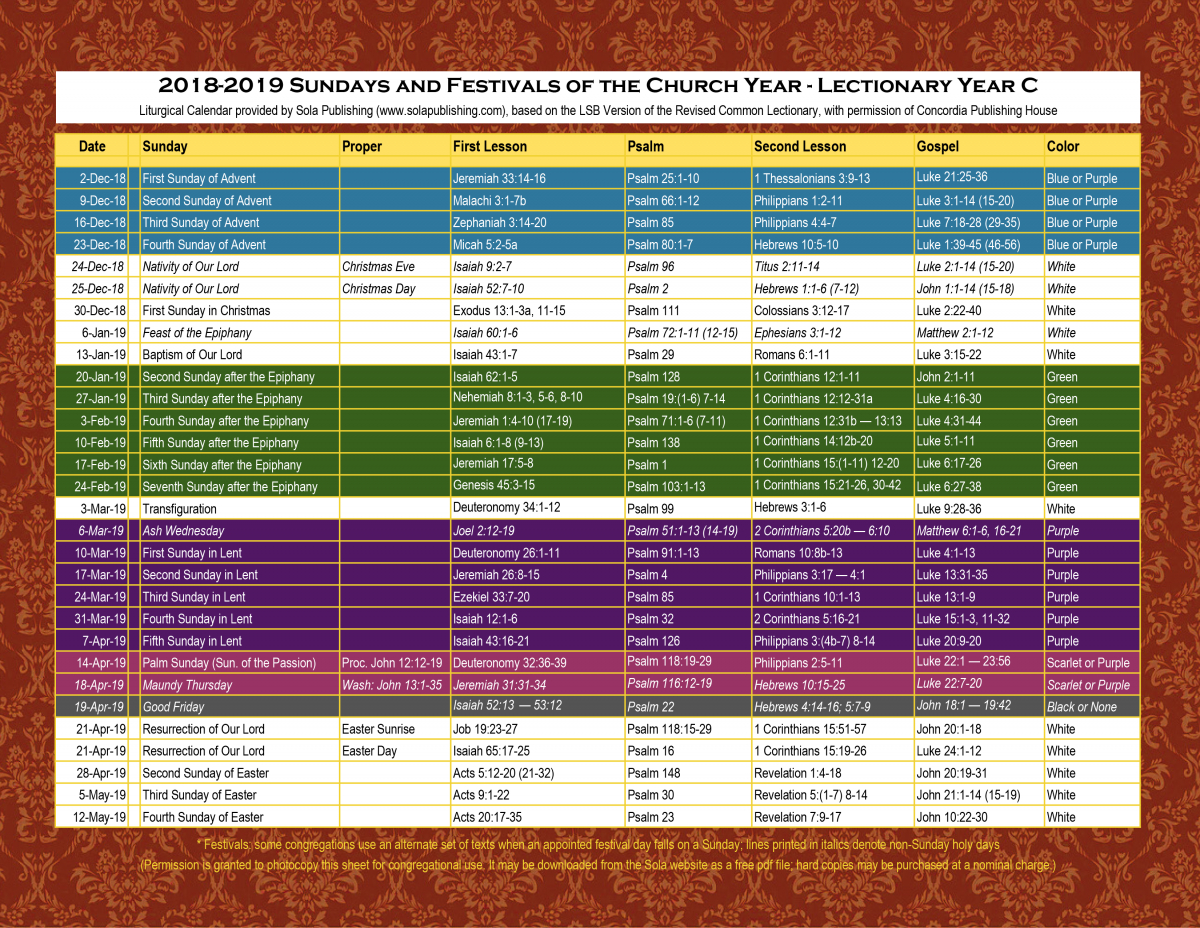 2019 Liturgical Calendar (Year C) K-2019 | Sola Publishing with regard to Catholic Liturgical Calendar 2020 Pdf