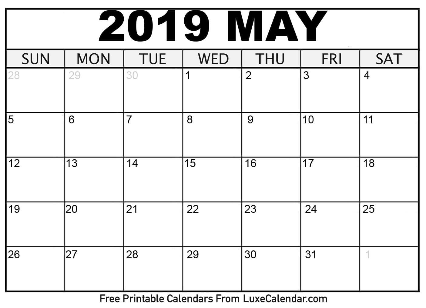 2019 May Calendar Printable   Printable Monthly Calendar Templates regarding Free Printable September Blank Calendars With Christian Themes