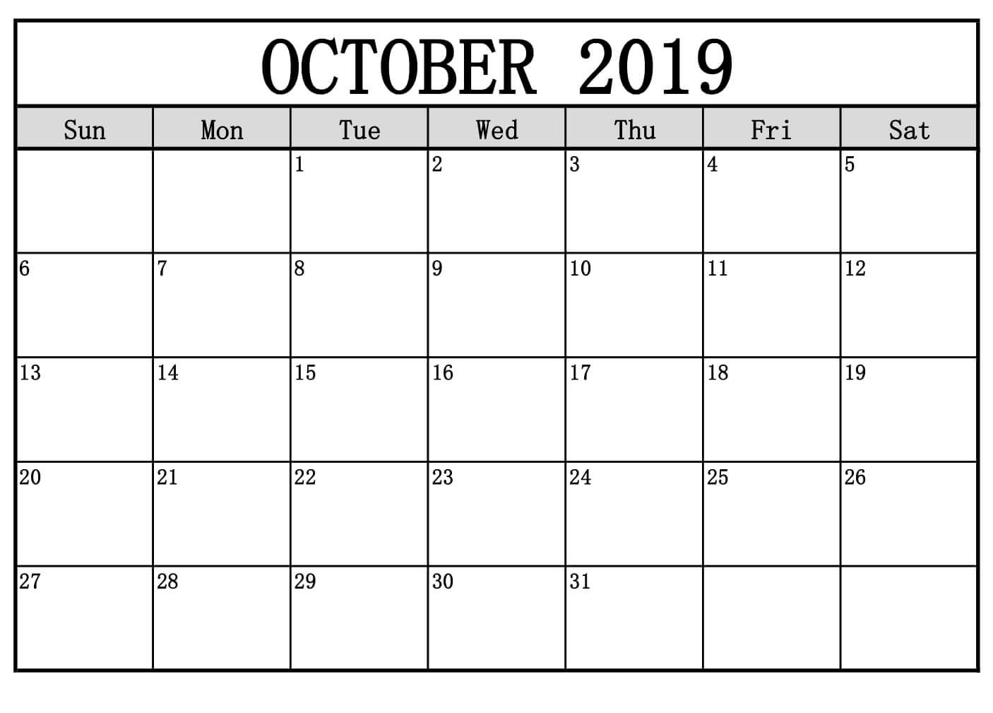 2019 Monthly Calendar (January To December) - Monthmonth pertaining to Editable October 2019 Calendar With Religious Holidays
