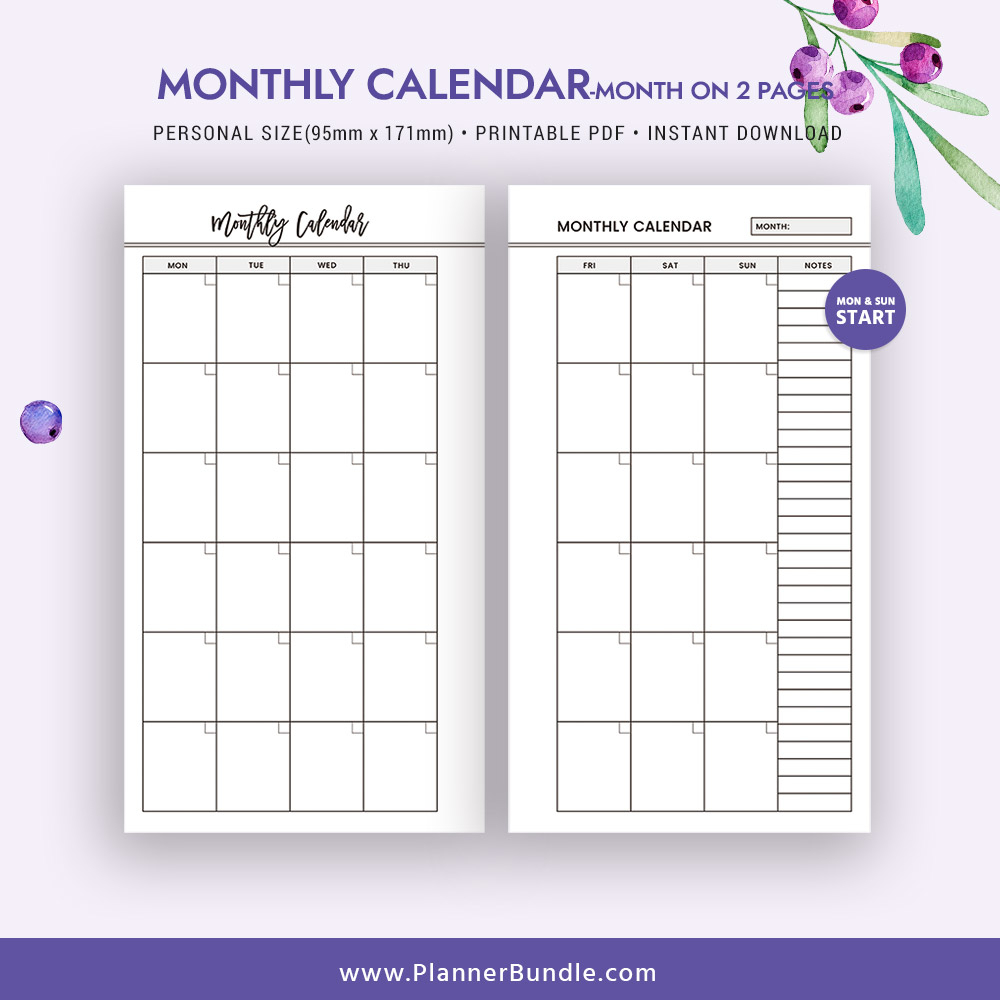 2019 Monthly Calendar, Month On 2 Pages, 2019 Printable Page, Personal  Size, Refill, Filofax Personal, Instant Download, Planner Pages, Planner for 2 Page Monthly Calendar Template