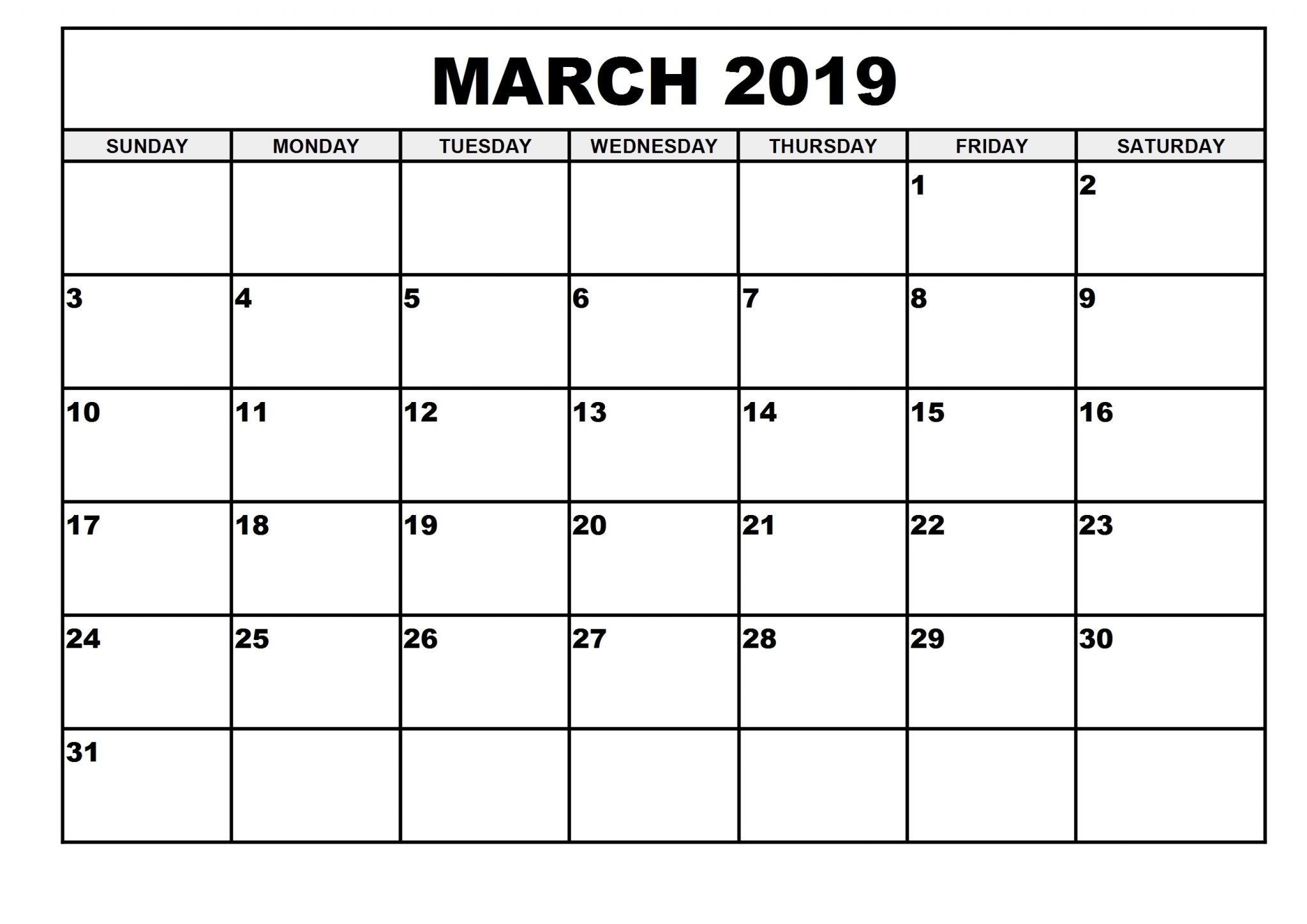 2019 Monthly Printable Calendar March - Printable Calendar 2019 pertaining to Blank Calendar To Print By Month