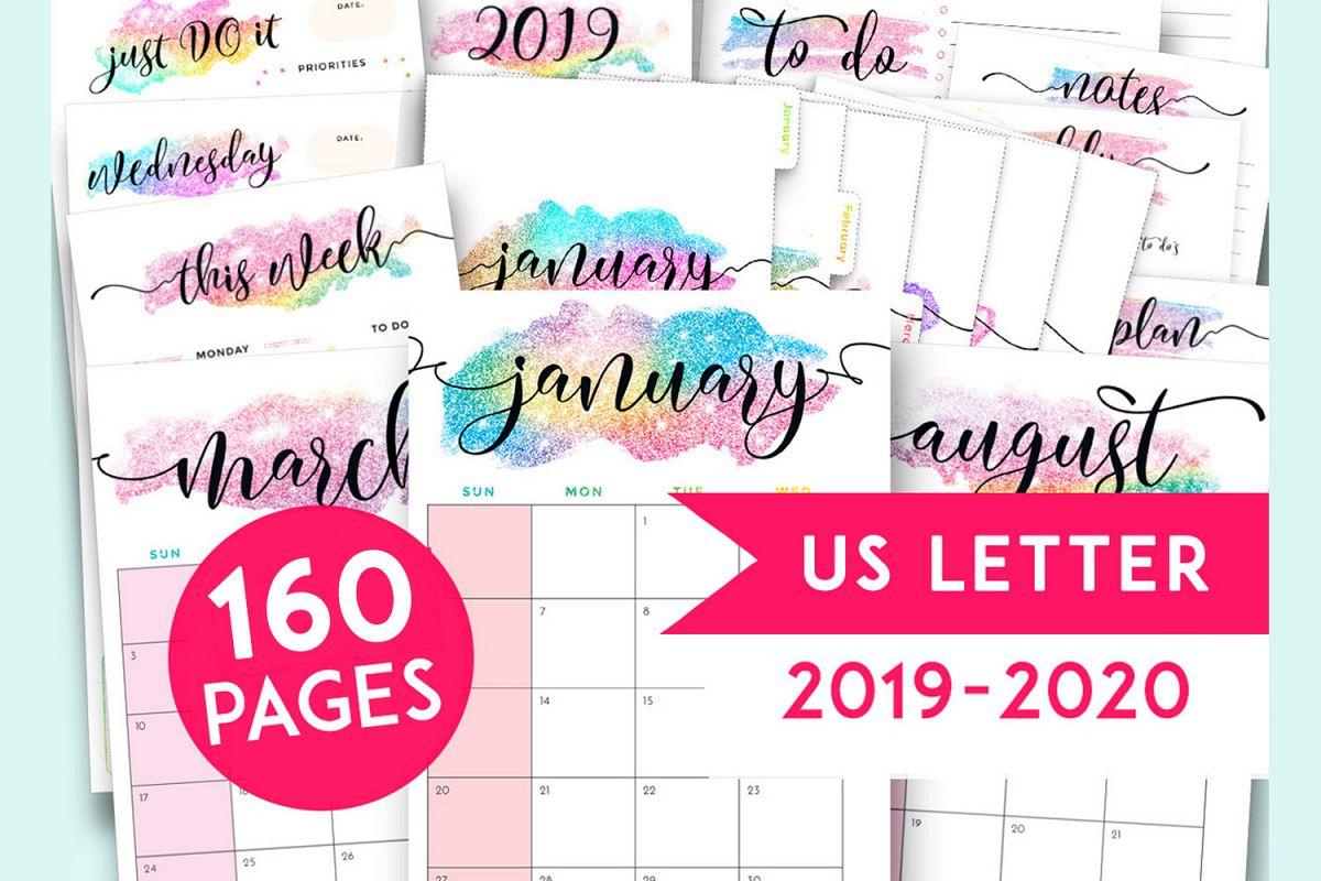 2019 Planner Printables Bundle, Binder Inserts 2019-2020 intended for Free Printable Unicorn Calendar 2019-2020