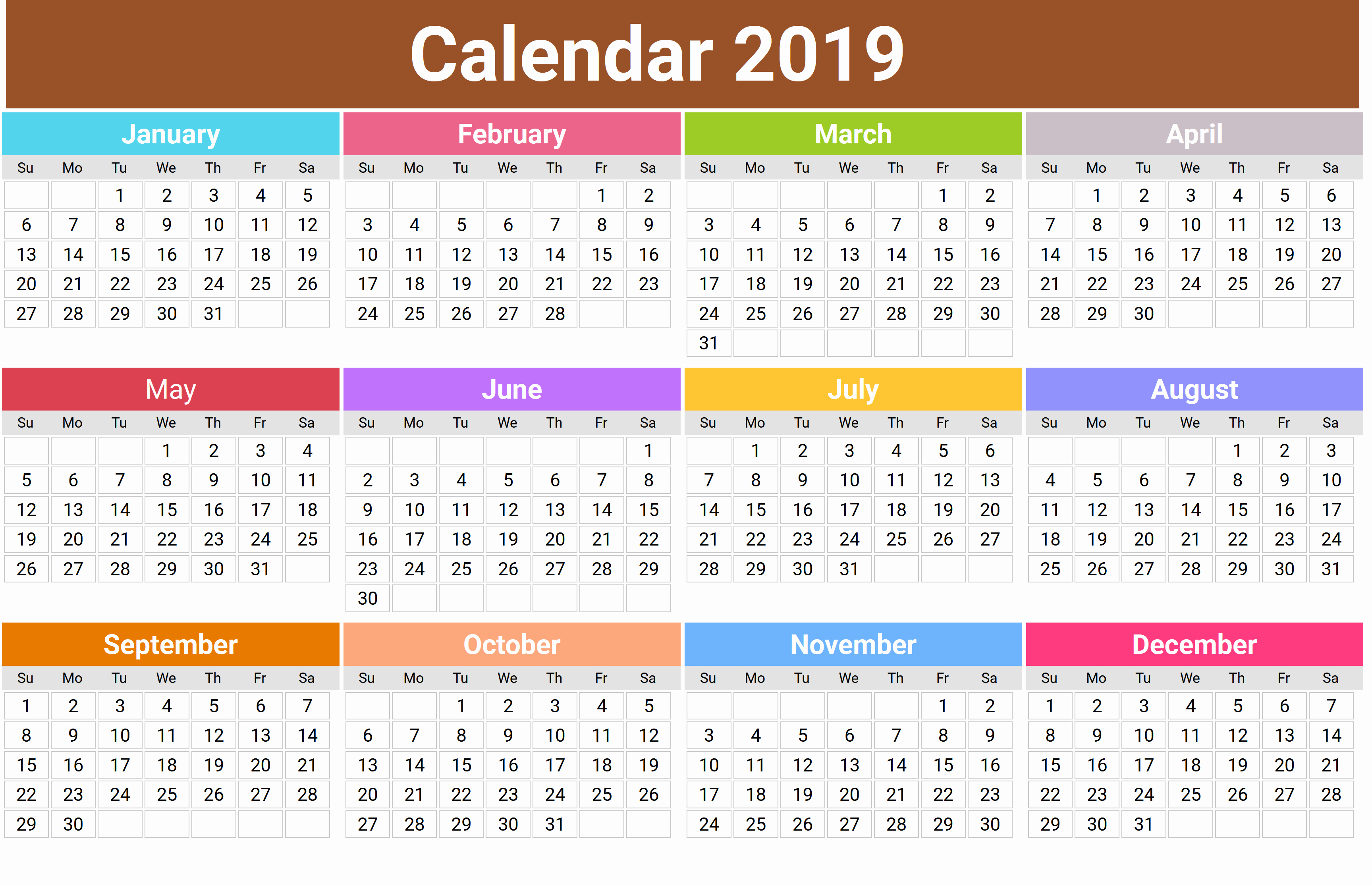 2019 Printable 12 Month One Page Calendar Template Pdf Word Notes in 12 Month Calendar Template Printable