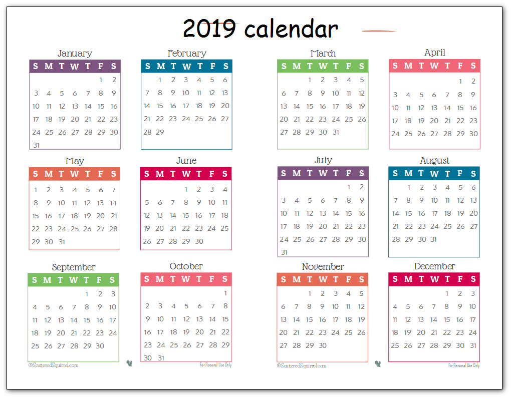 2019 Printable 12 Month One Page Calendar Template Pdf Word Notes pertaining to Cute Yearly Calendar Template
