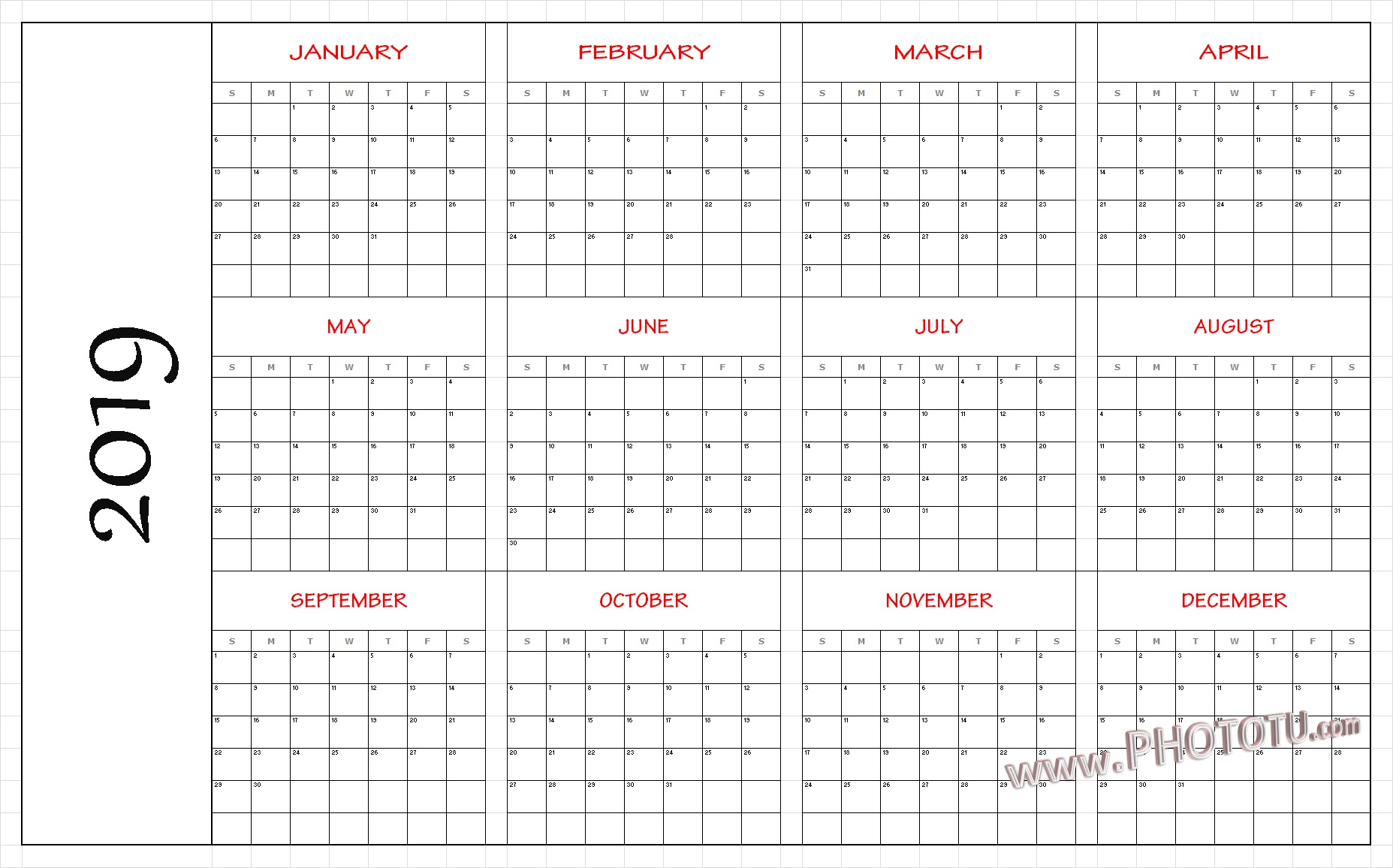 2019 Printable 12 Month One Page Calendar Template Pdf Word Notes throughout 12 Month Blank Calendar