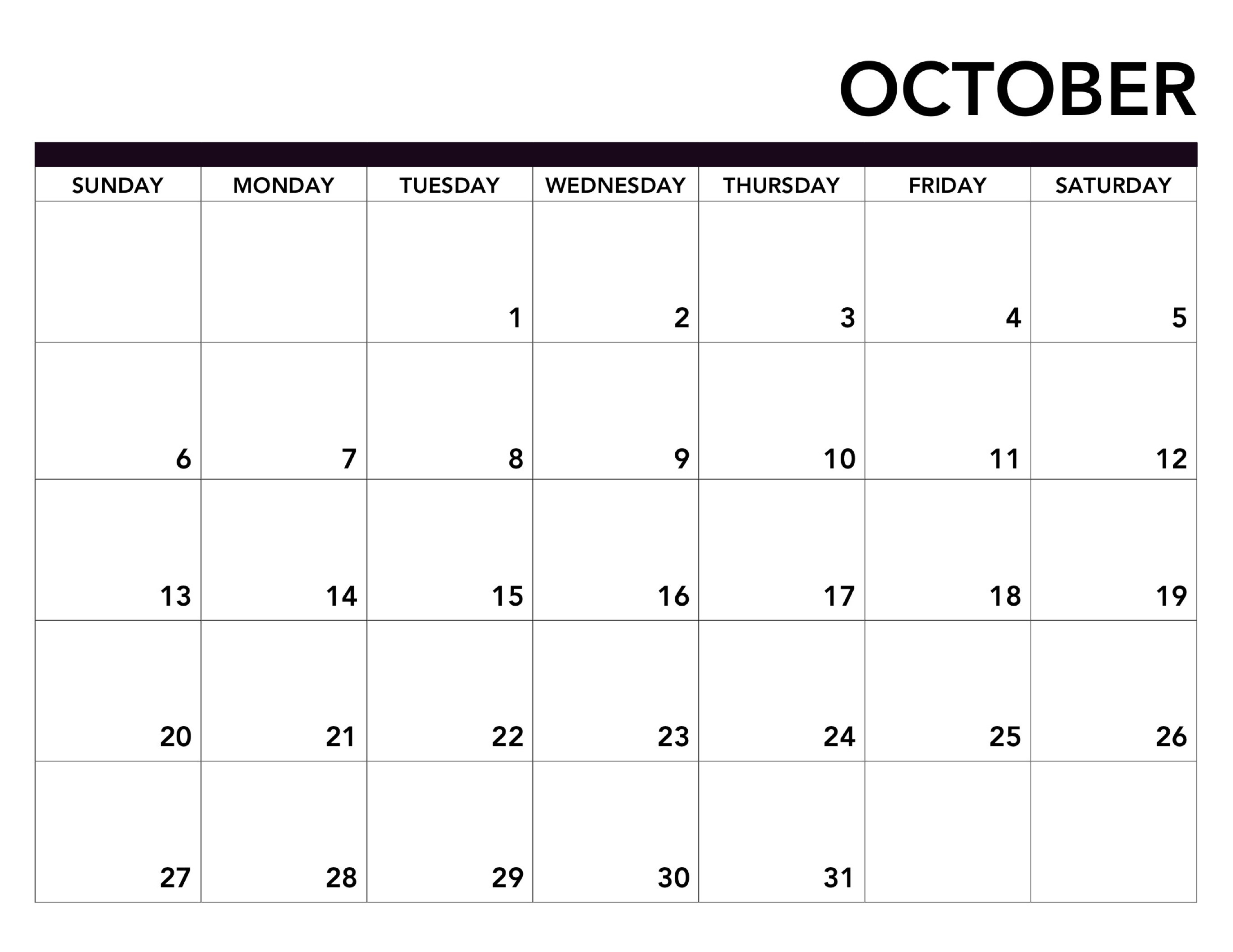 2019 Printable Calendar Free Pages - Paper Trail Design intended for October Blank Calendar Monday To Friday Only
