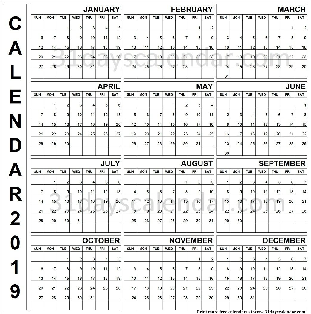 2019 Printable Calendar One Page Vertical | Yearly Calendar 2019 within Blank Year Calendar On One Page