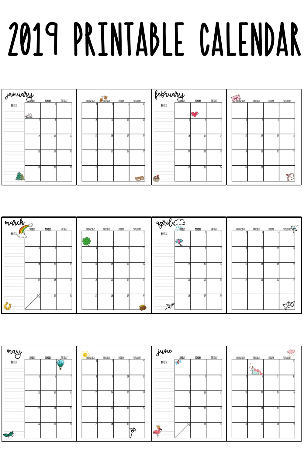 2019 Printable Calendar regarding Blank Printable Mini Calendar